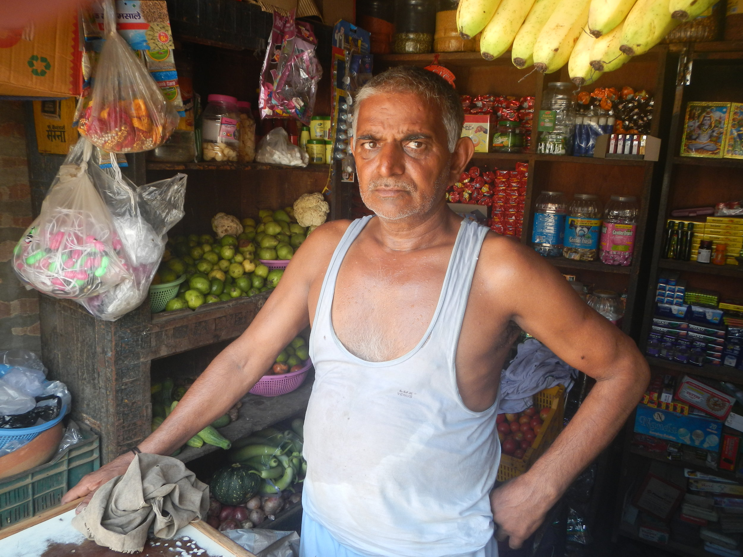 Subeh Deen, a Muslim shopkeeper, at his store in Barsola village in Haryana, India. Photo by Priyadarshini Sen.