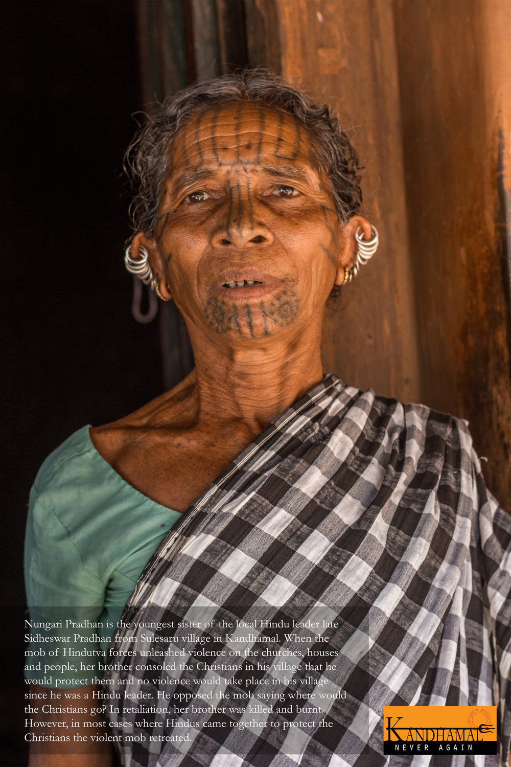 A photo exhibit of Kandhamal survivors was displayed in Delhi in August 2018 for a 10-year anniversary event for activists and survivors to discuss how to proceed with their legal cases. Photo by Joe Athialy.