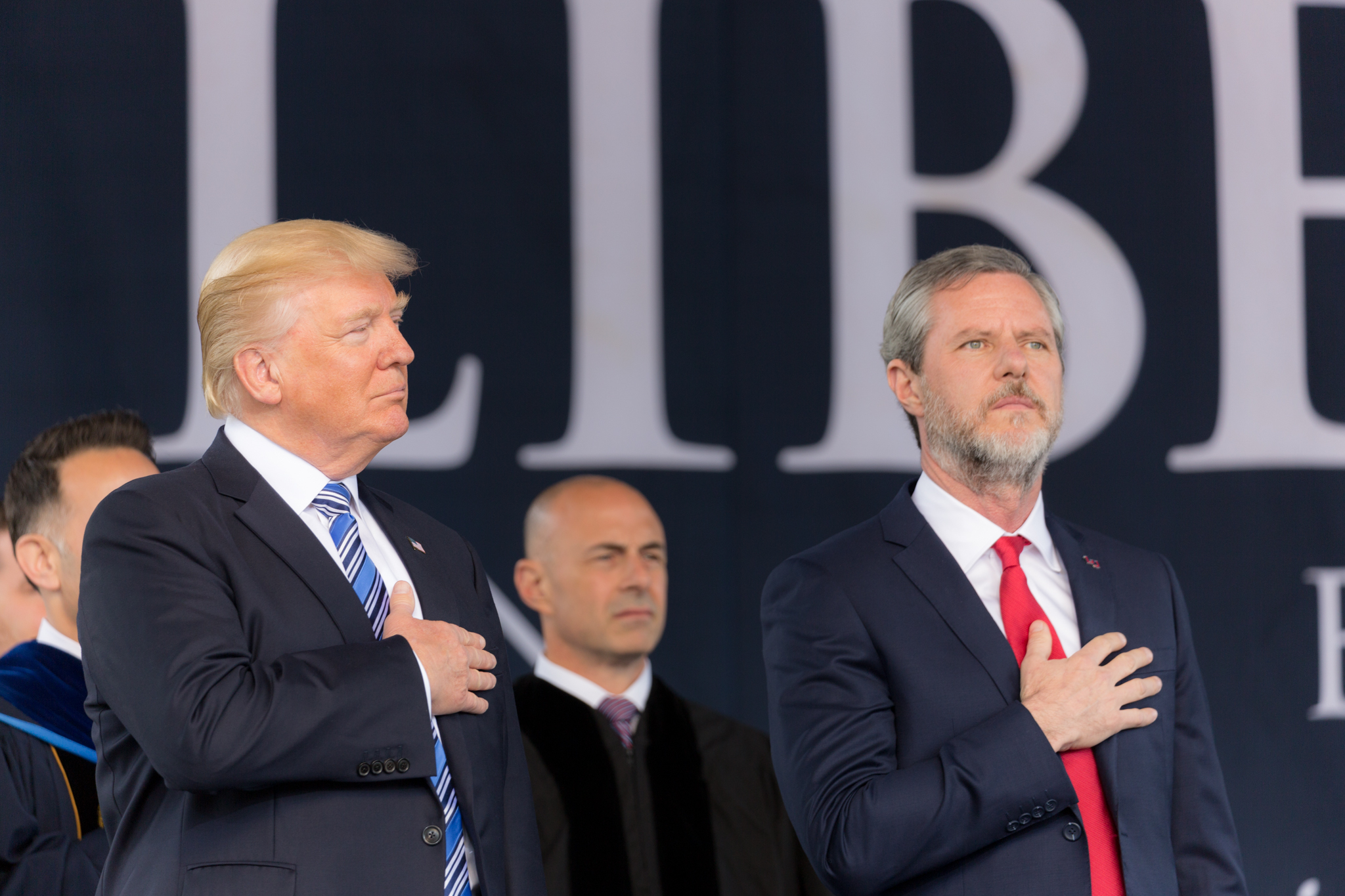 Jerry Falwell Jr. (right) with U.S. President Donald Trump. Creative Commons/White House photo.