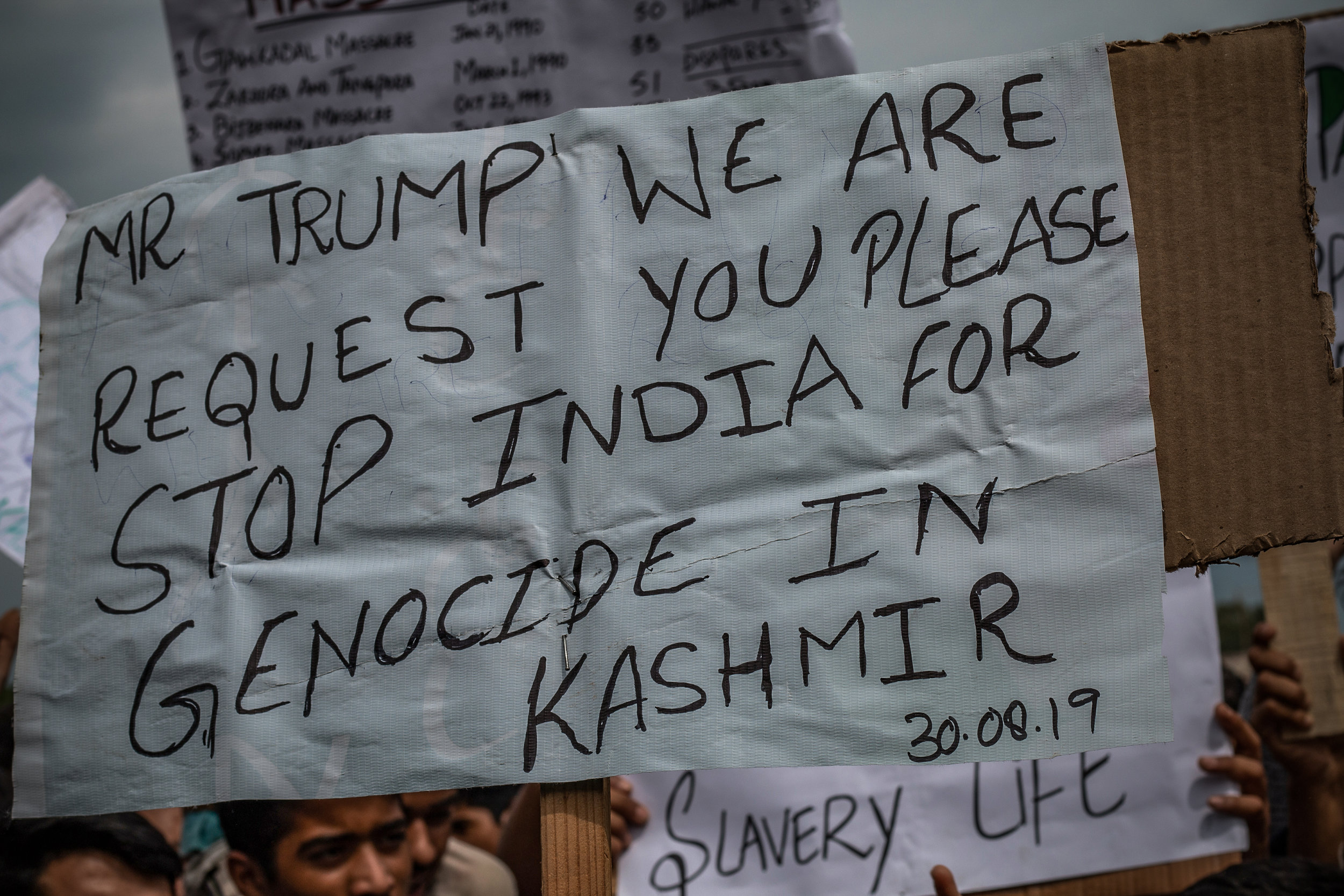 The protestors also requested the American president, Donald Trump, to stop India from committing human rights violations in the region in the name of maintaining law and order. Photo by Avinash Giri.