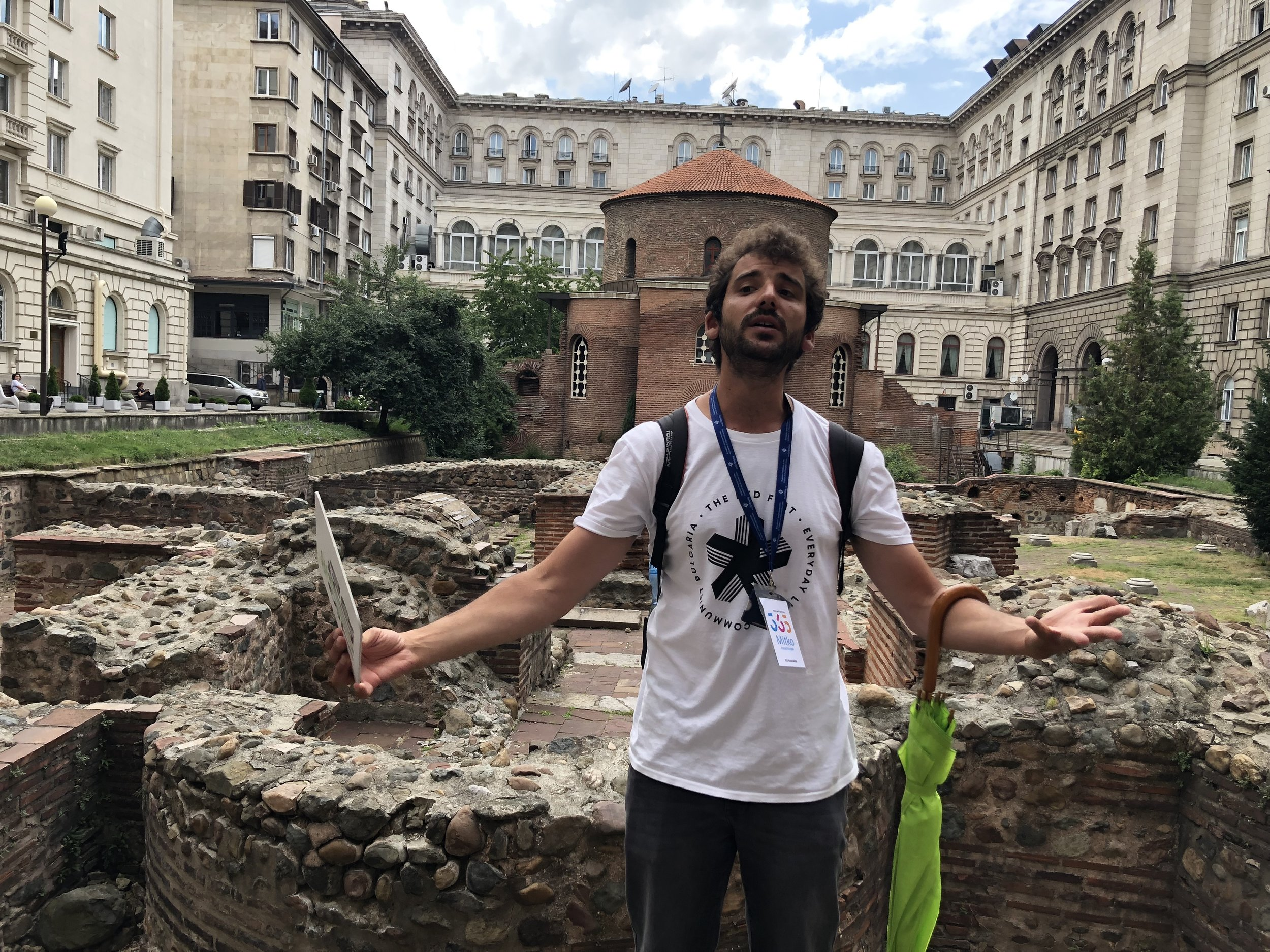 Mitko Dimitrov giving a walking tour in the center of Sofia, Bulgaria, explaining the history of the Church of Saint George, which dates back to the 4th Century and is one of the oldest buildings in Sofia.