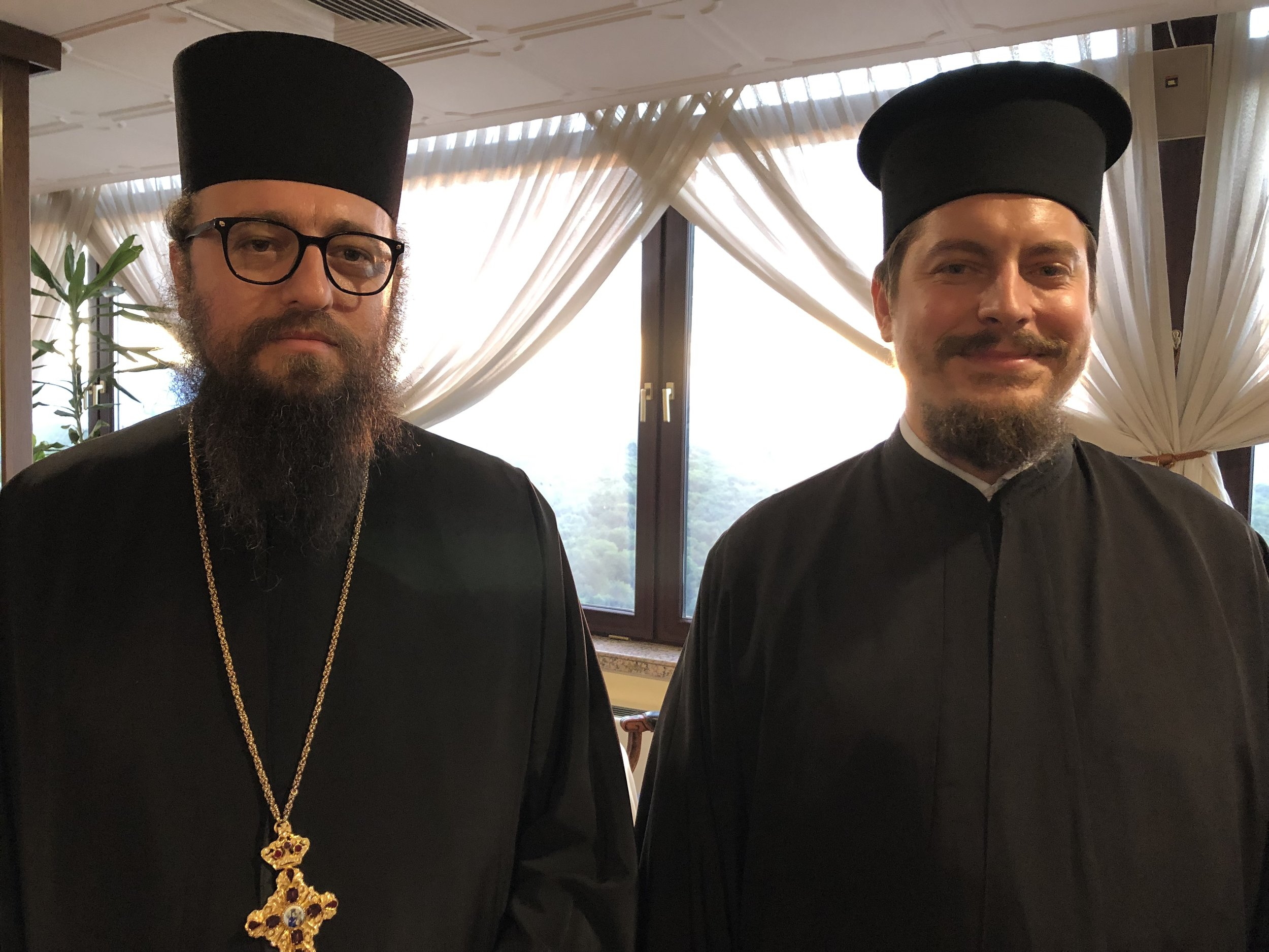 Archimandrite Pahomii, rector of the Sofia Theological Seminary (a school for priests) on the left with his colleague.
