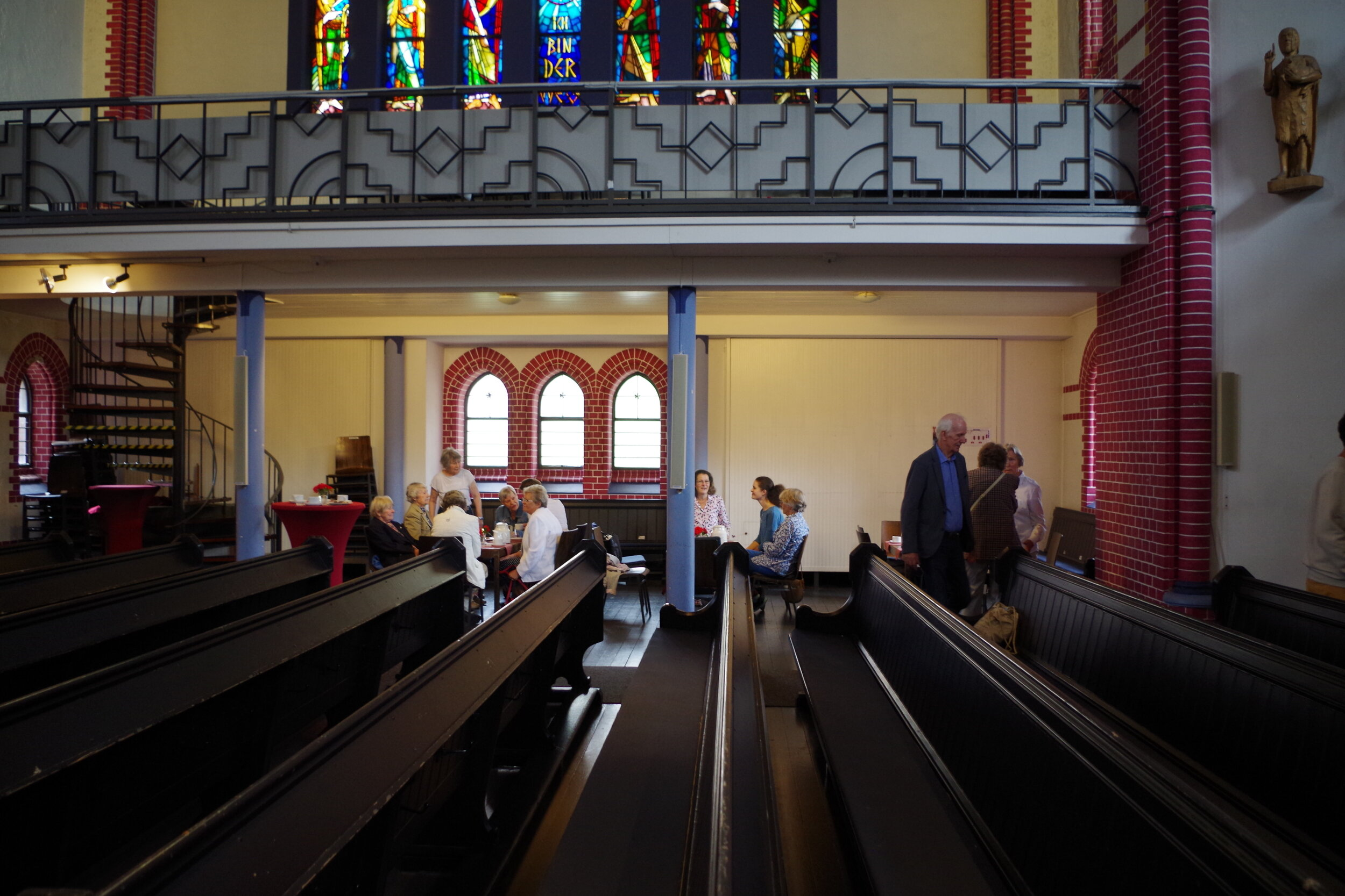 The Protestant church members gather for coffee and cake after service each Sunday. Photo by Jelena Malkowski.