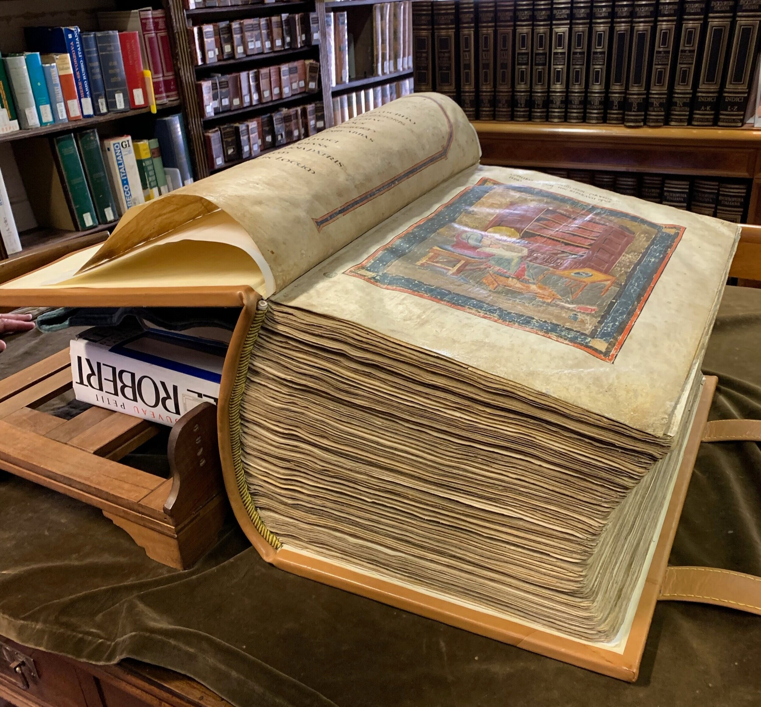 The  Codex Amiatinus  as seen in Florence at the  Biblioteca Medicea Laurenziana.  Photo by Roberta Ahmanson.