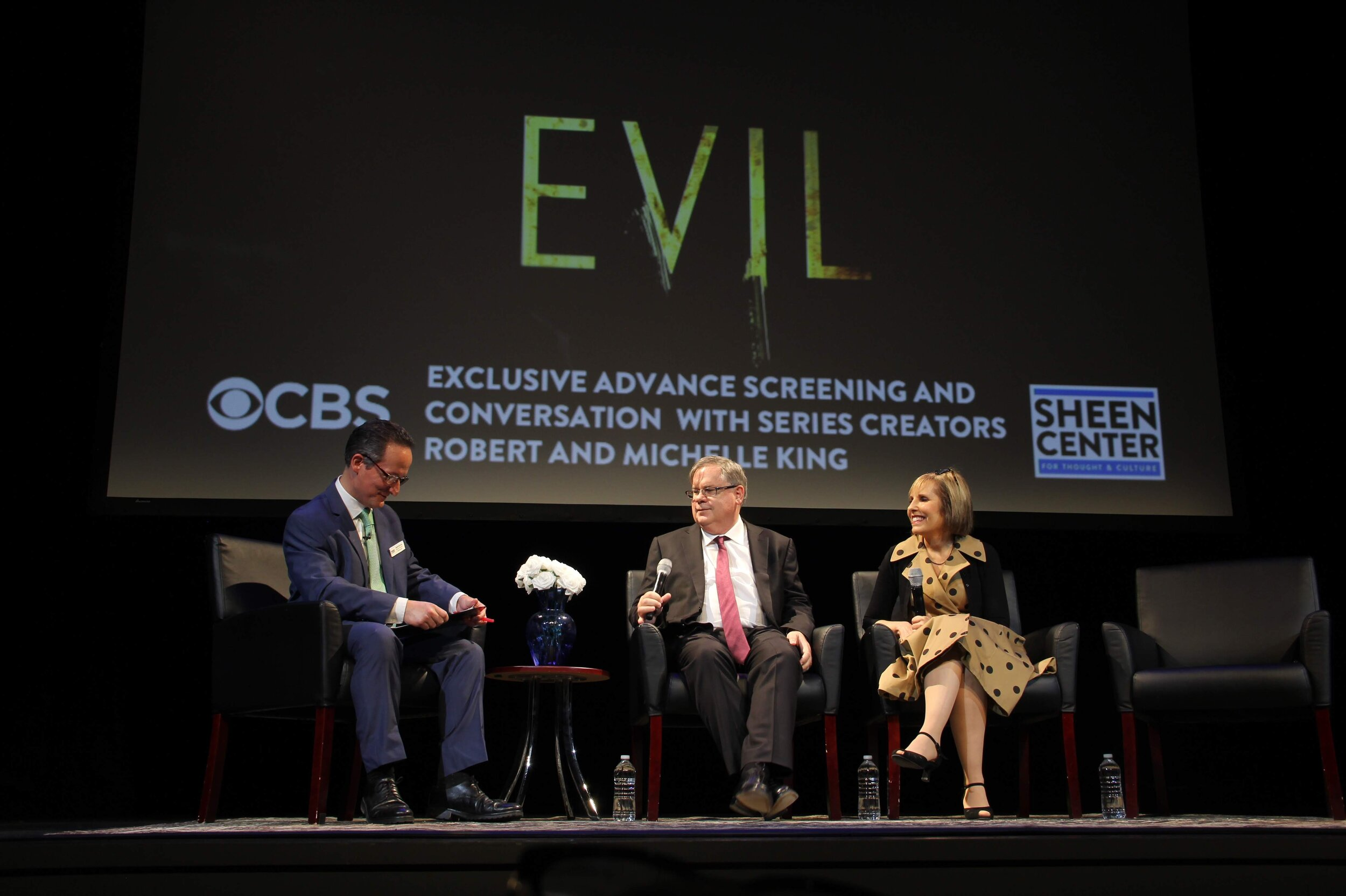 """Robert (center) and Michelle King (right) answer questions after premiering their new series """"Evil"""" in New York Sept. 20. Photo by Elizabeth Vandenboom."""