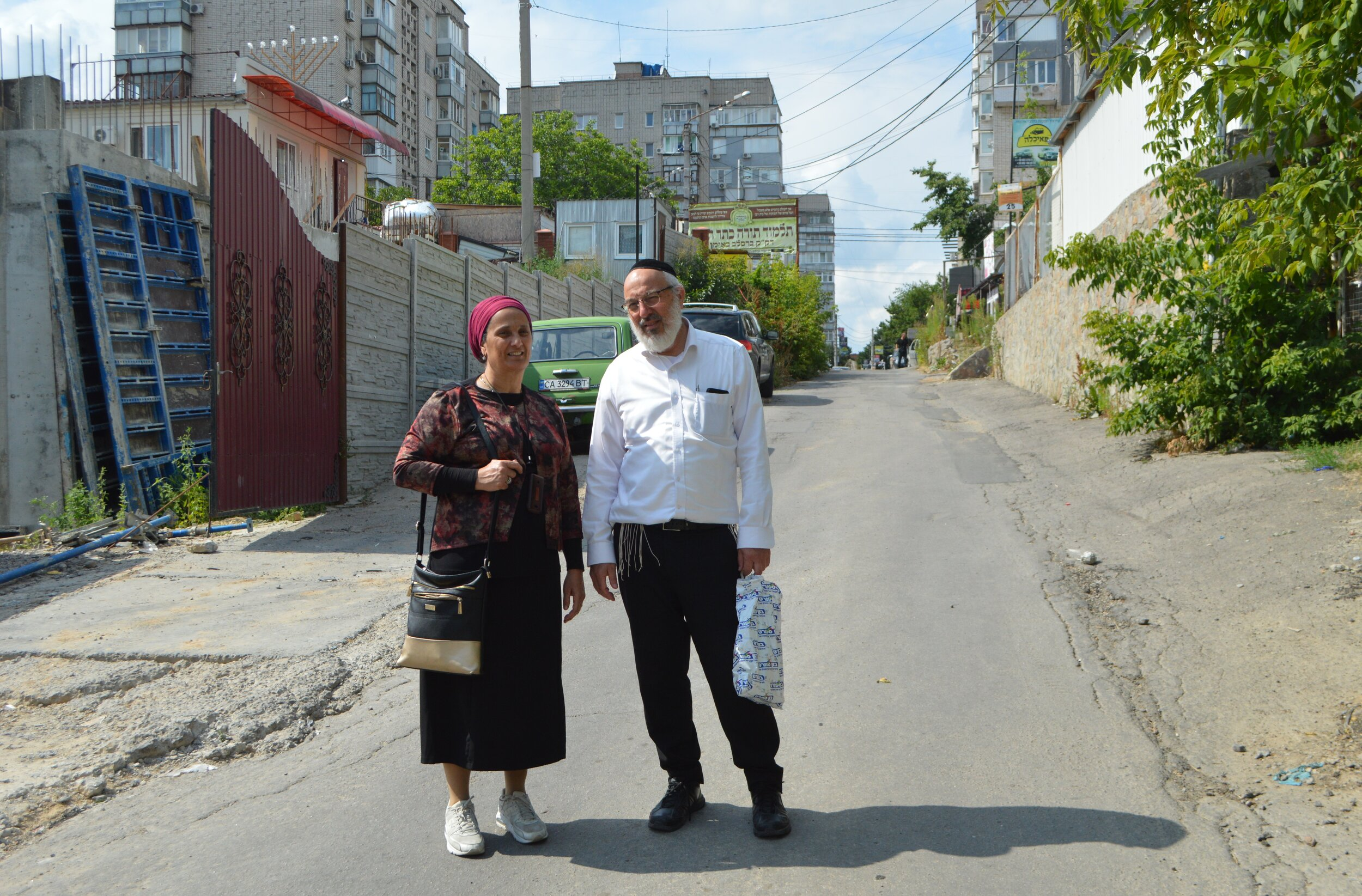 Eli Mammon and his wife Ofira from Jerusalem take the chance to visit Uman in the off-season before Rosh Hashanah. Photo by Paul Brian.