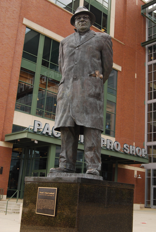 A statue of Packers coach Vince Lombardi outside Lambeau Field in Green Bay. Wikipedia photo.