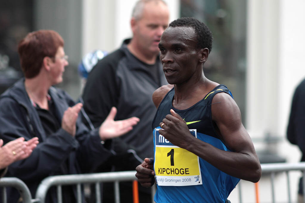 Eliud Kipchoge runs in a 2008 marathon in the Netherlands, exactly 11 years ago on Oct. 12. Photo by Michiel Jelijs.