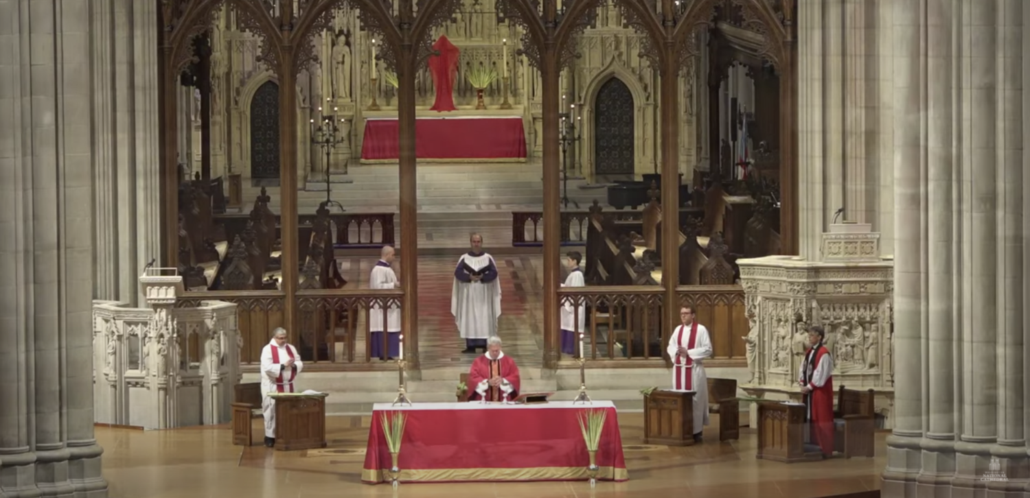 A still image from the Washington National Cathedral's Palm Sunday service livestreamed to YouTube on April 5.