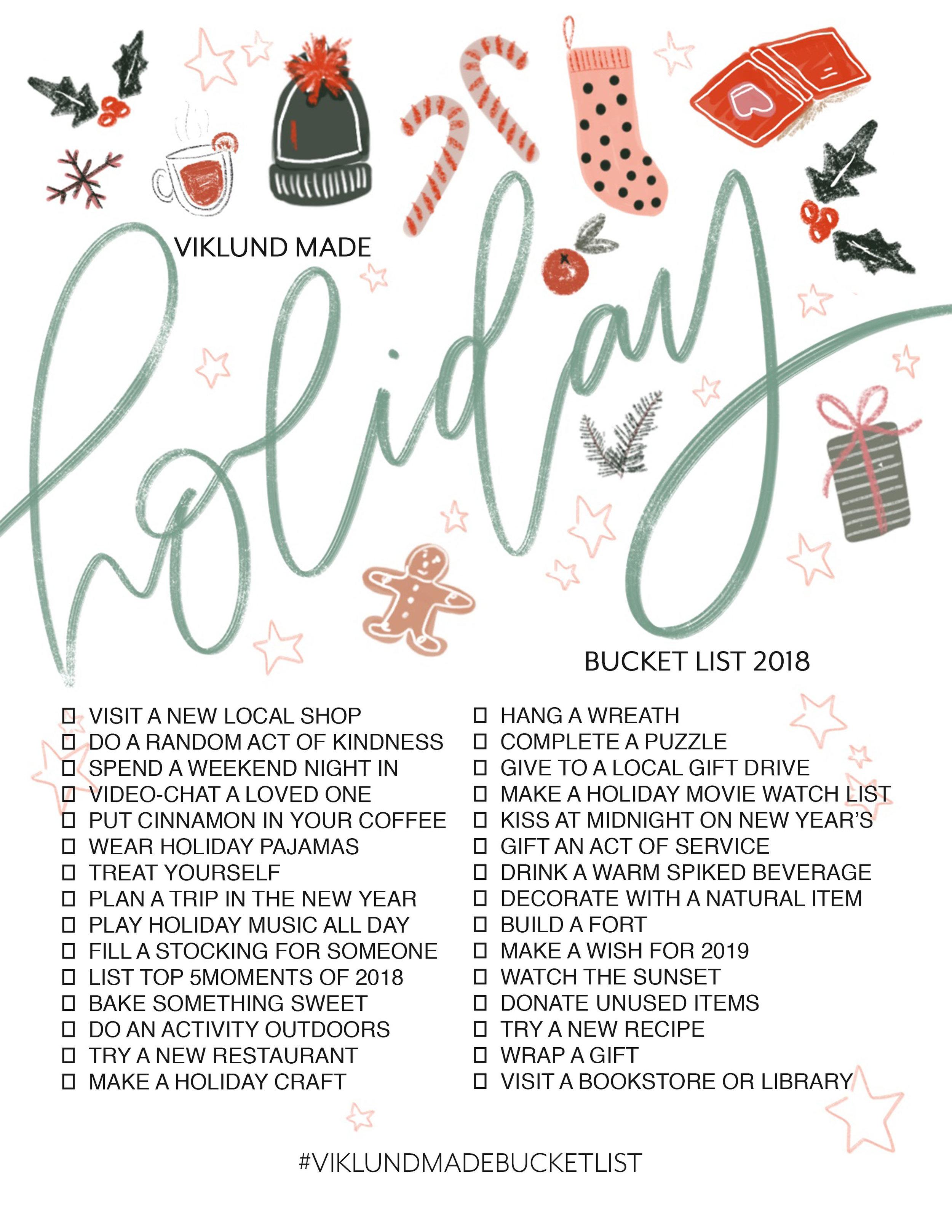 Viklund Made Holiday Bucket List 2018