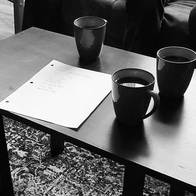 Getting our setlist ready for this Friday! #setlist #coffee #rehearsal #austinmb