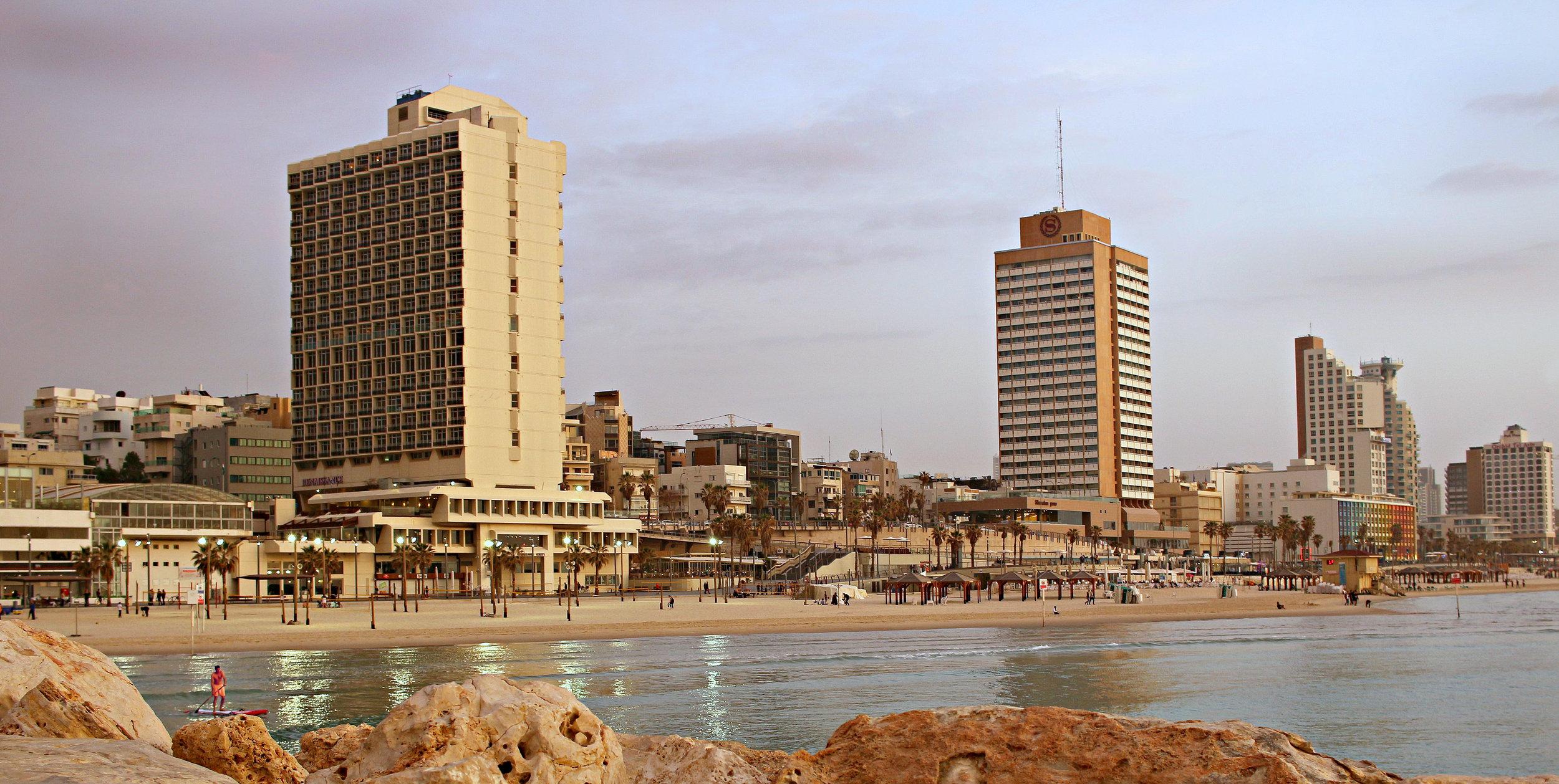 Tel Aviv Beachfront from the Pier at Sunset