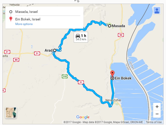 Route from Arad to Masada and the Dead Sea powered by Google