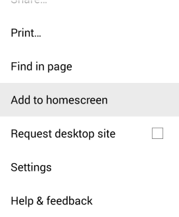 Android Add to homescreen button