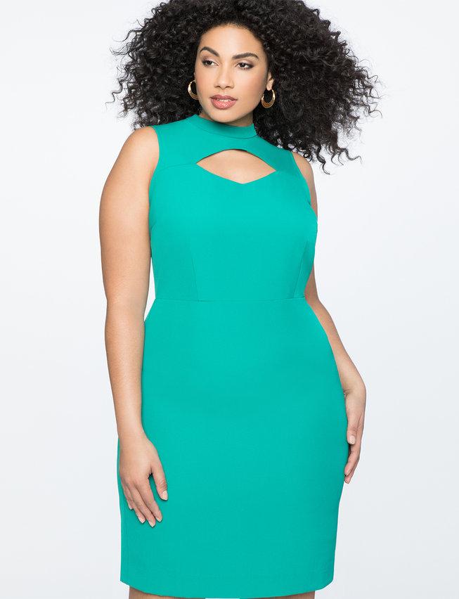 Cutout Neckline Mockneck Dress