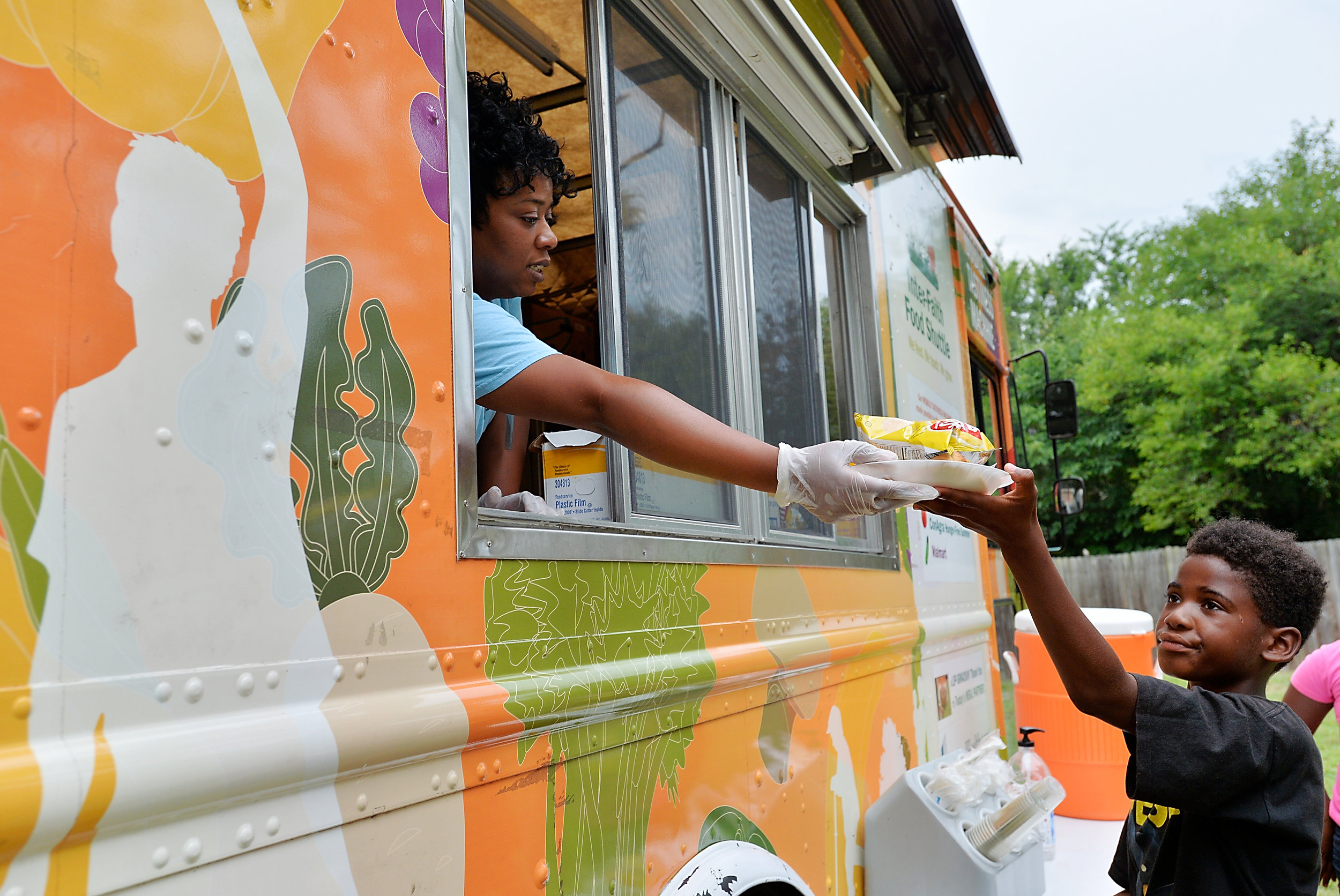 Inter-Faith Food Shuttle's Mobile Tastiness Machine at Camden Street Learning Garden in Raleigh, N.C. on July 23, 2016. (Photo by Sara D. Davis)