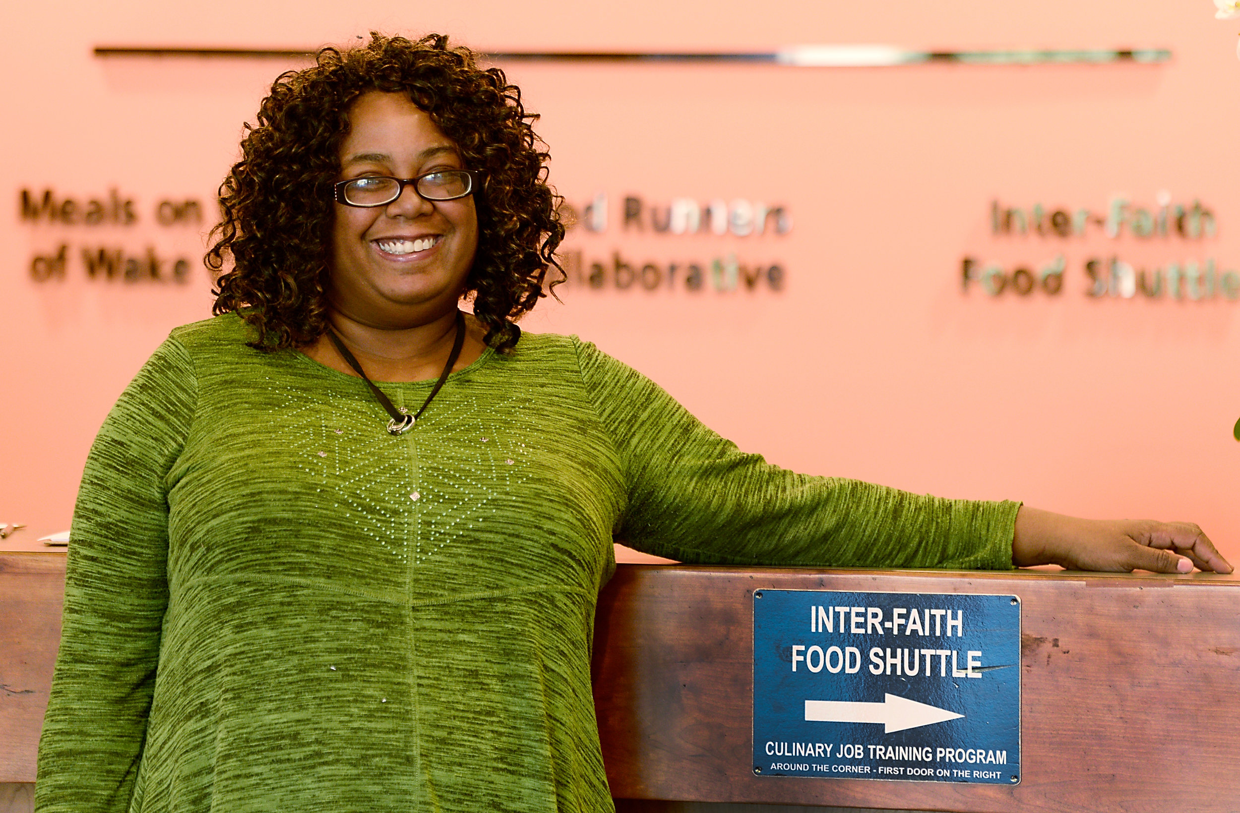 Kim interned at Food Shuttle after graduating from the Workforce Readiness program.