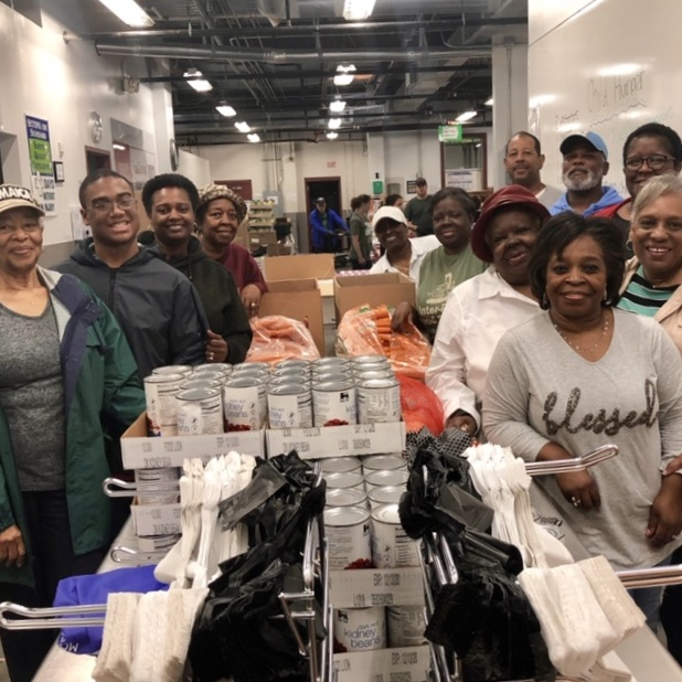 Members of Wake Baptist Grove Church packing Grocery Bags for Seniors