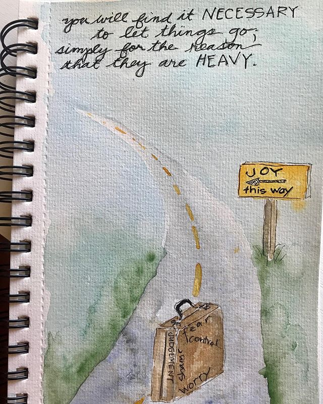 Life can be complicated and setting down the worry baggage makes the journey so much lighter. #morningdoodle