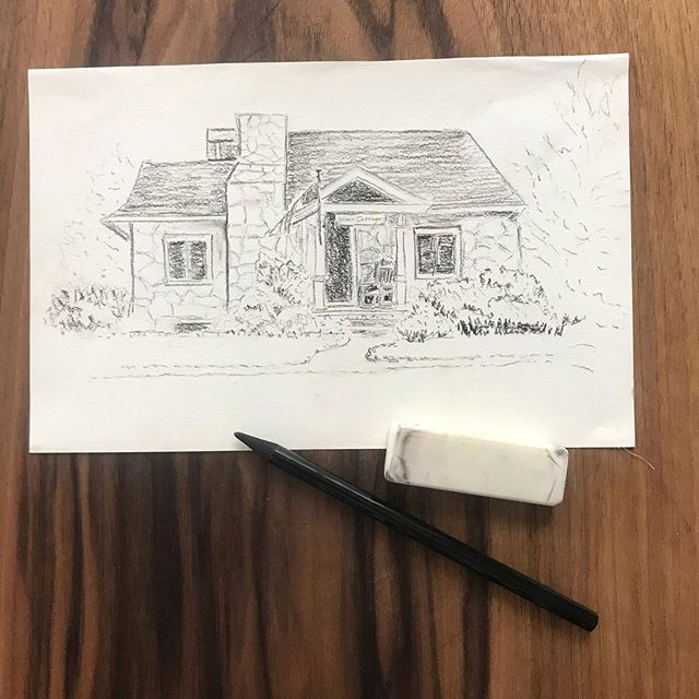 Joy comes to us in ordinary moments. We risk missing out when we get too busy chasing down the extraordinary. ~Brene Brown . A little sketch of a friends cottage.  I am more comfortable with watercolor... but this was a fun change of pace ✏️