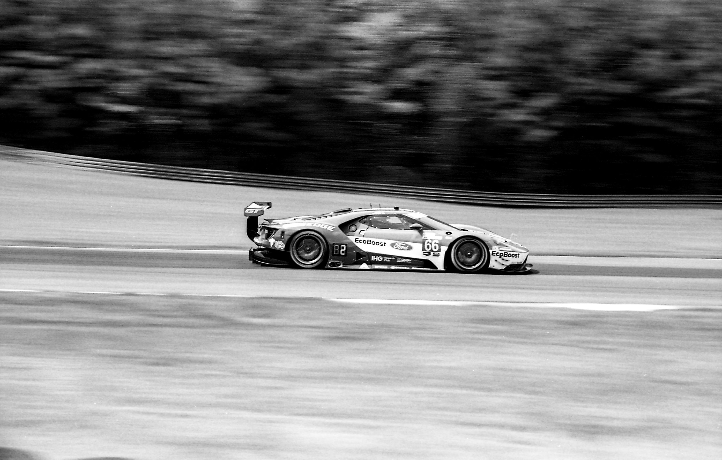 The Ford GT speeding along full throttle...
