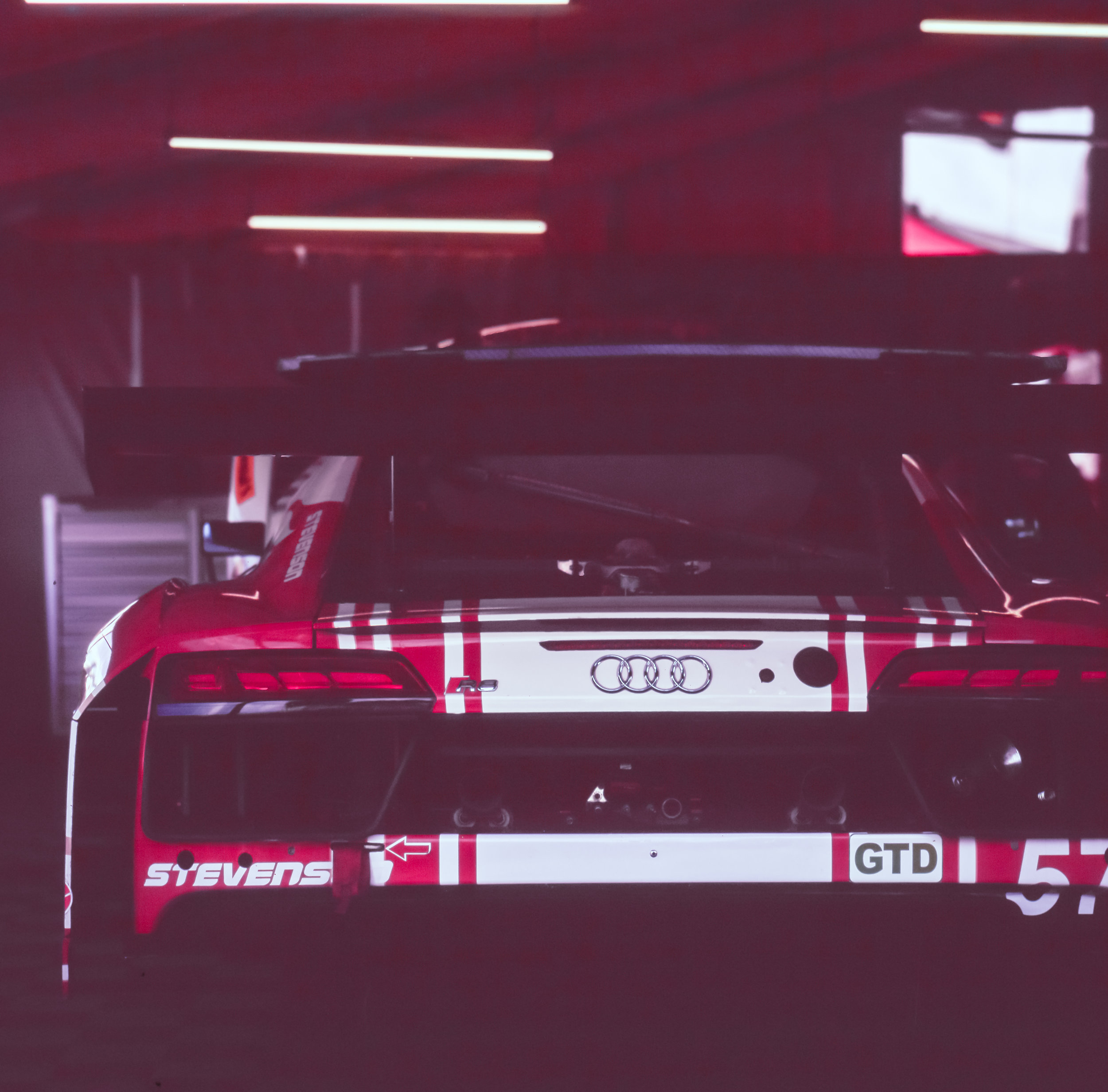 The R8 sits in the Paddock as it gets prepped to get on the track...