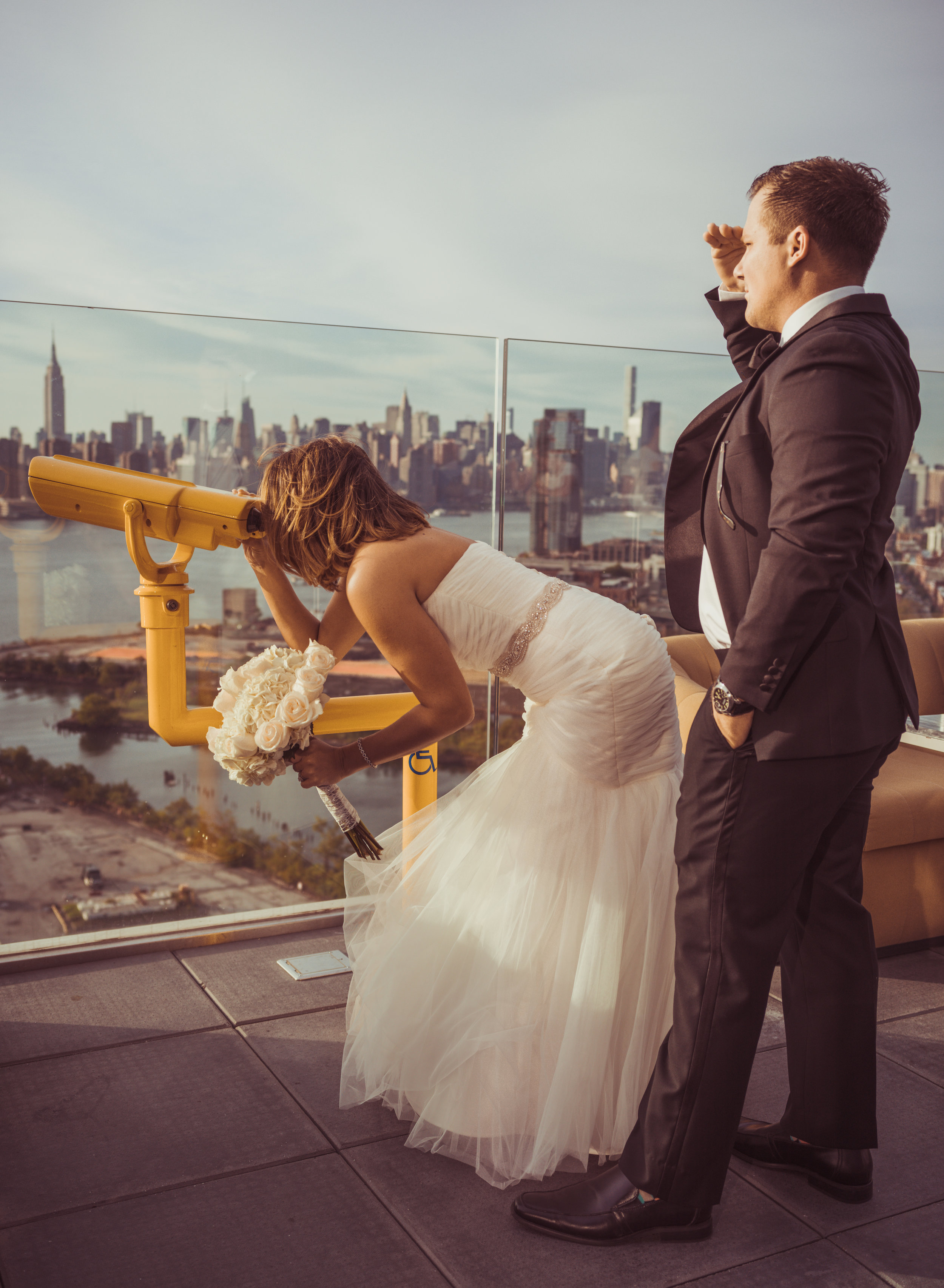 Shot on top of the William Vale Hotel Brooklyn, NY - Bride and Groom Editorial style shot.