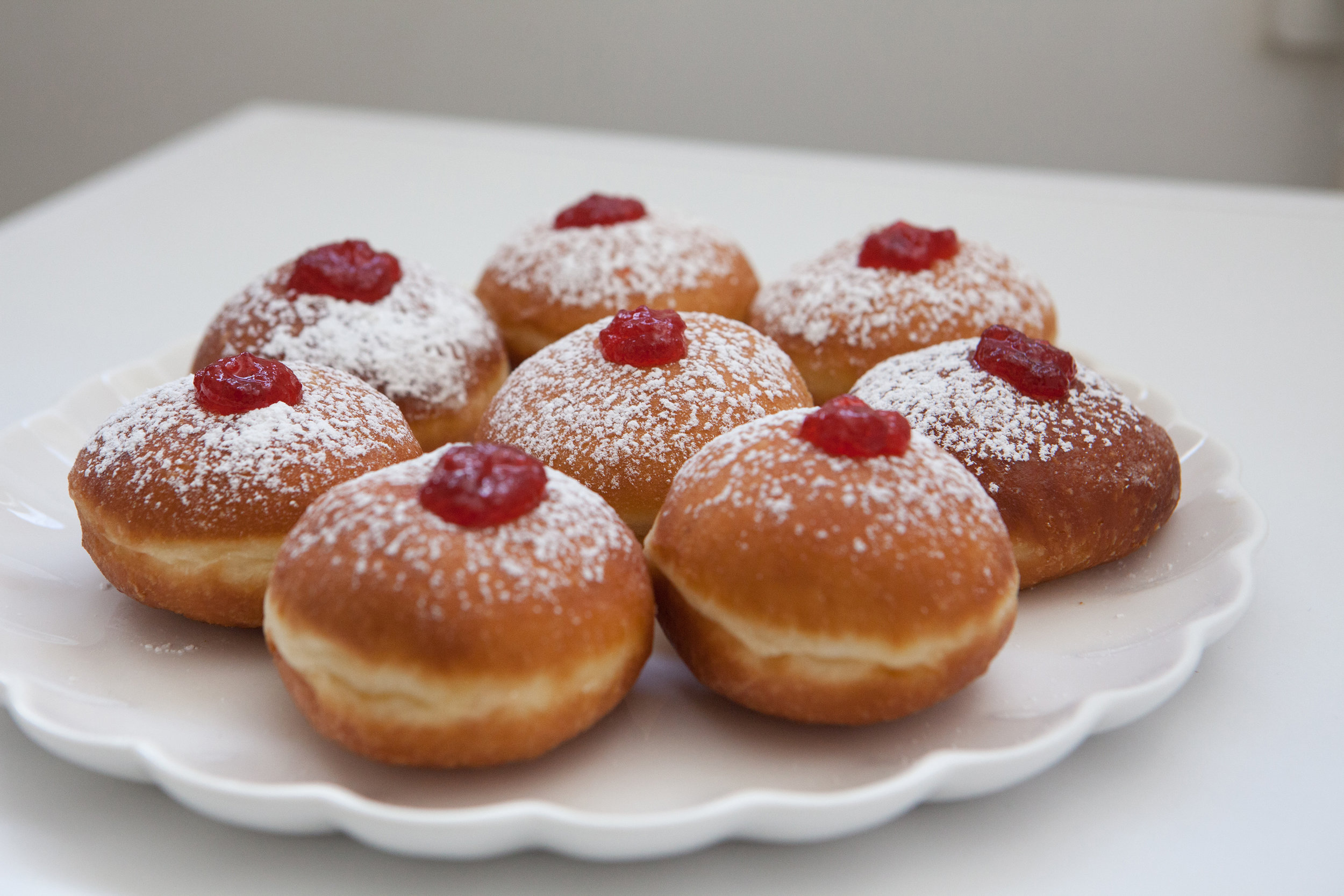Sufganiot - Israeli Jelly doughnuts.      Photo by Dana Friedlander for the Israeli Ministry of Tourism .
