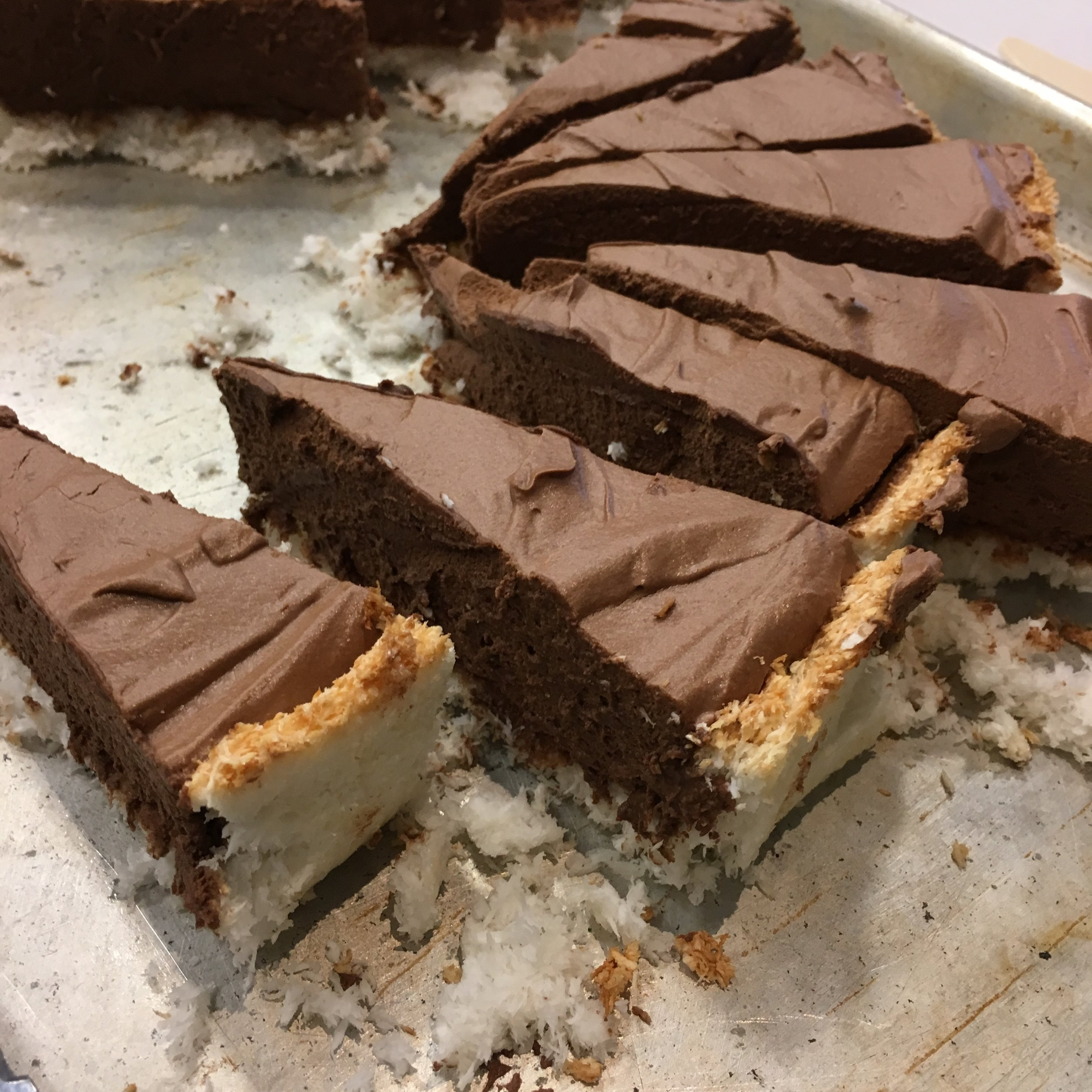 Chocolate tart with a coconut crust