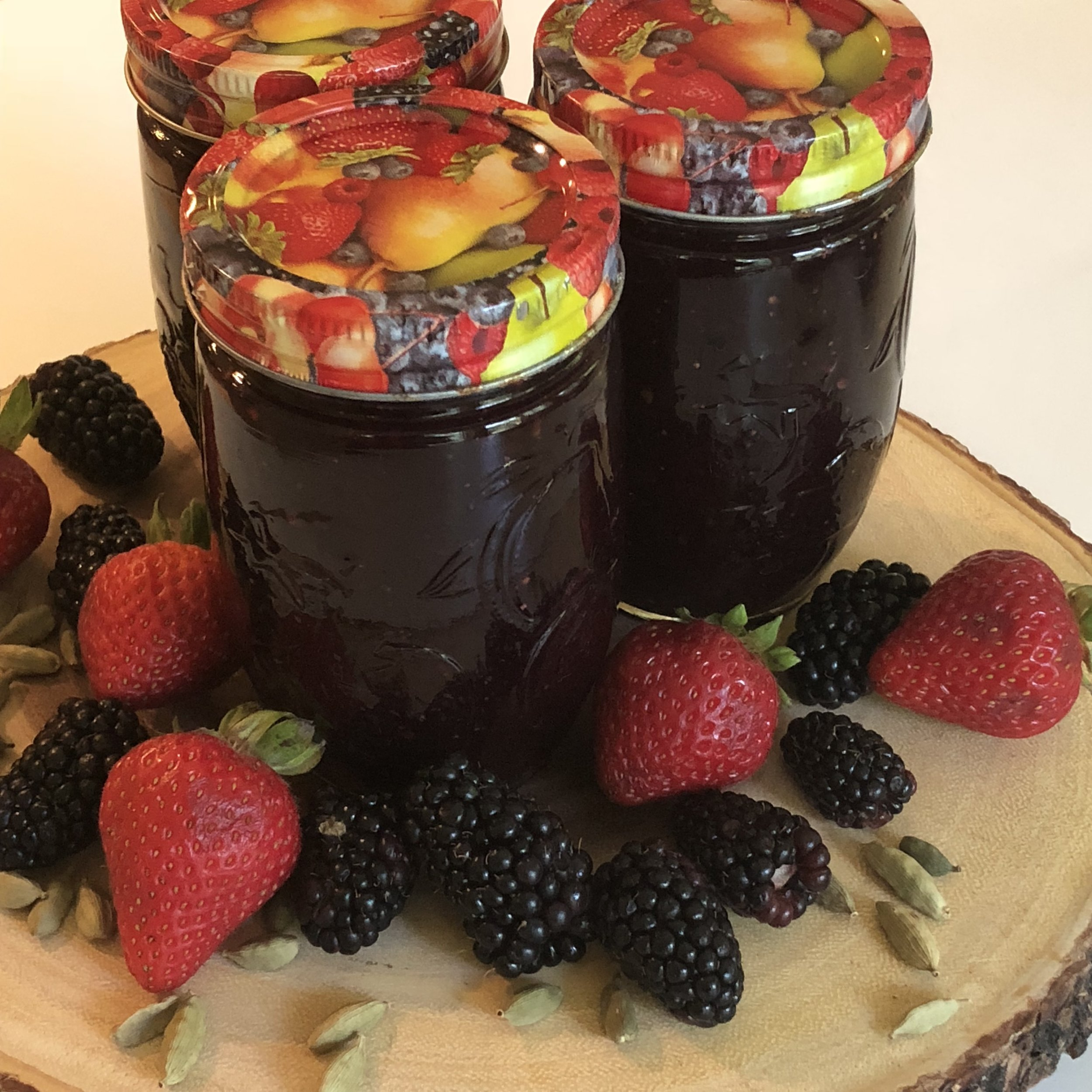Cardamom-Triple berry jam