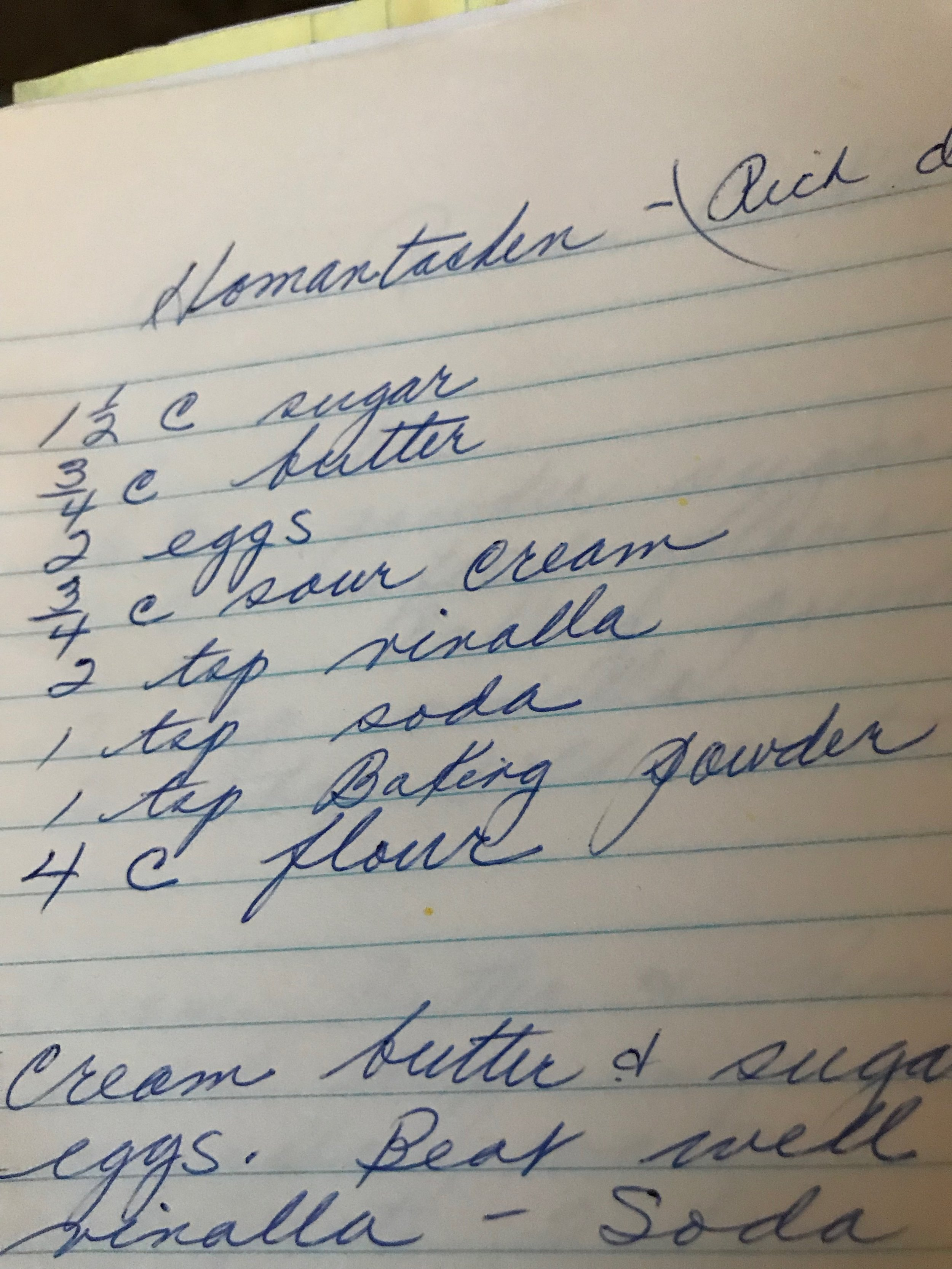 Georgie's recipe in her handwriting