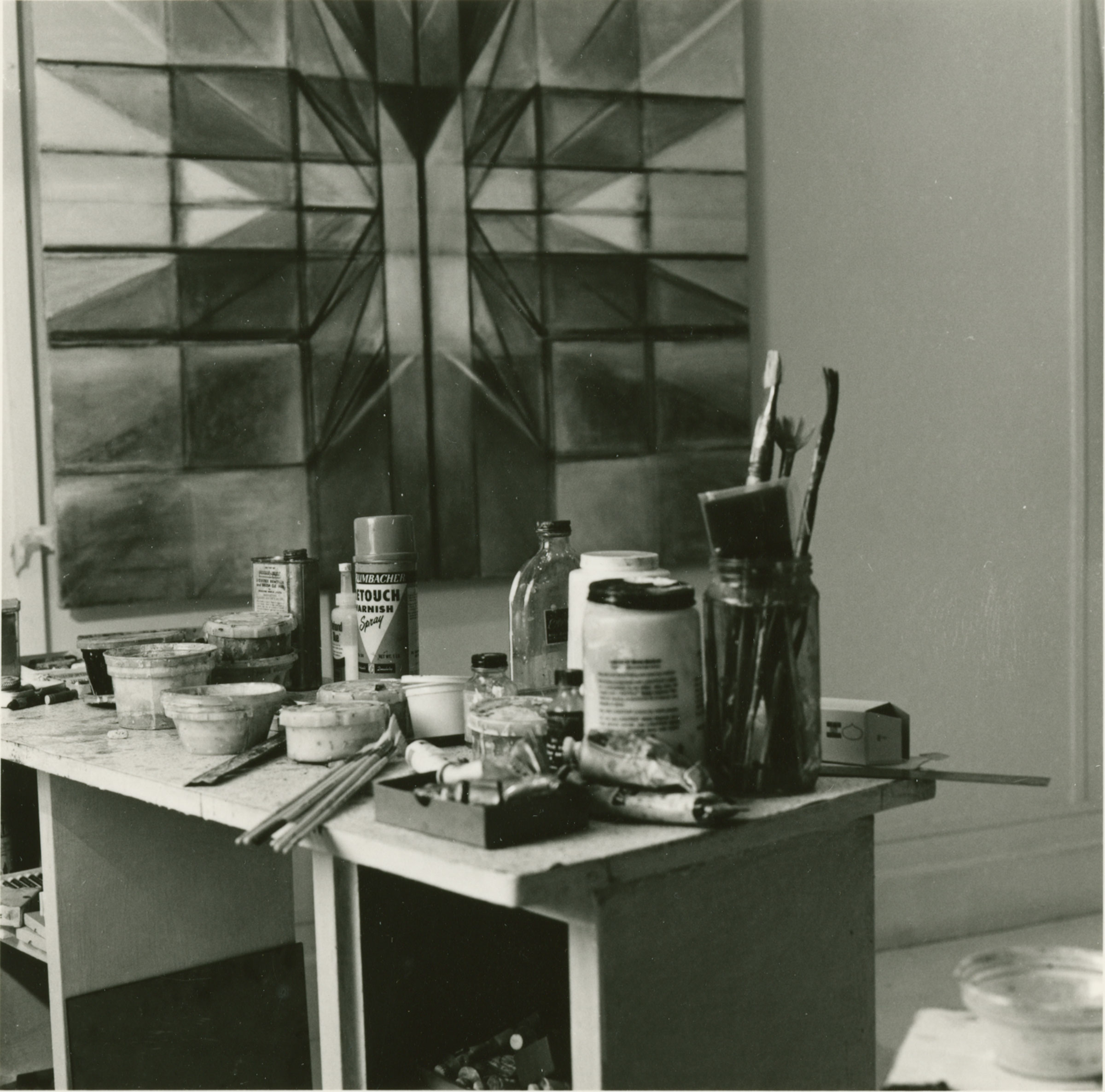 Photograph of Hedda Sterne's studio by Denise Browne Hare, 1983