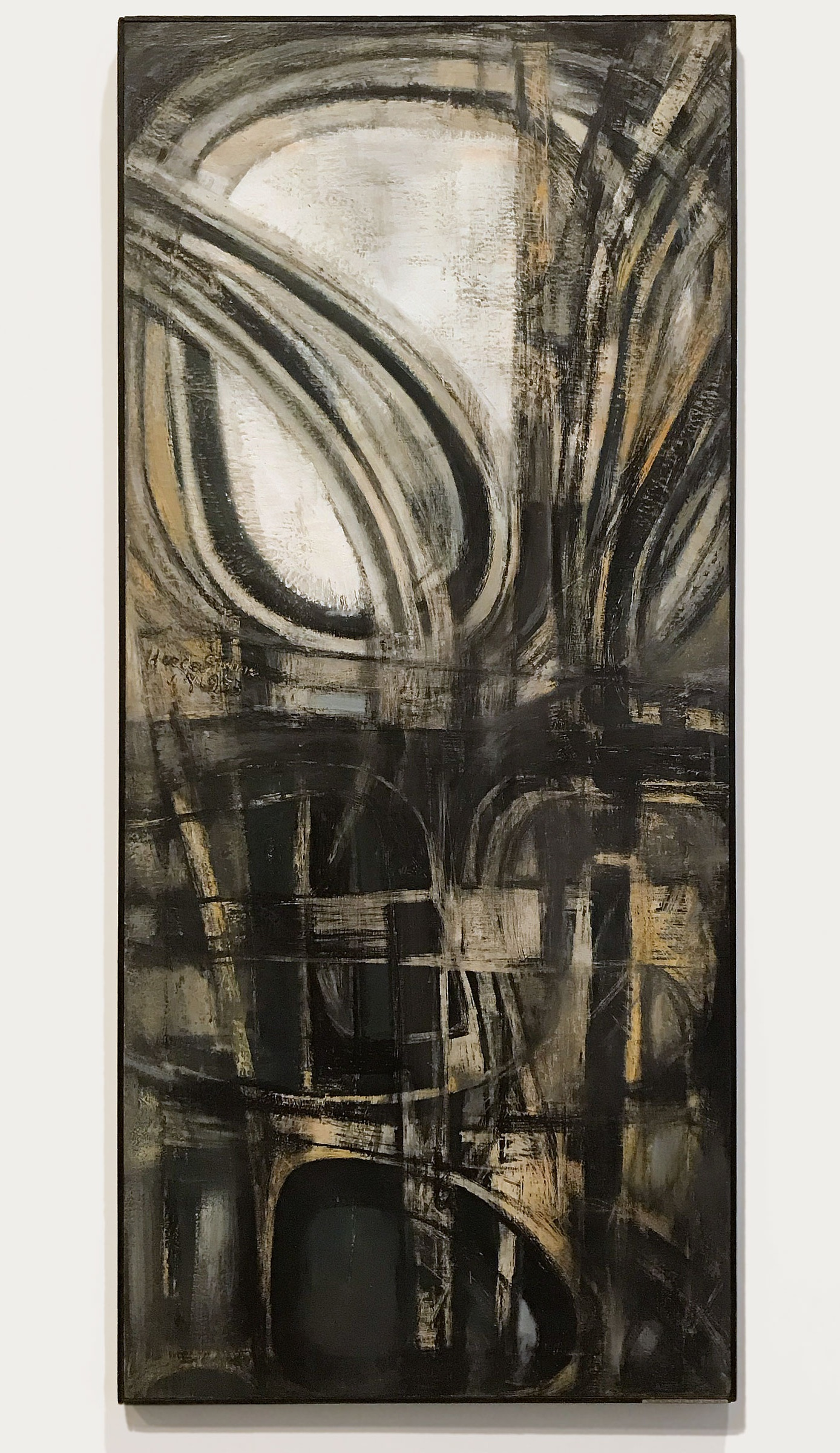 Hedda Sterne,  New York #2 , 1953, oil on canvas, 78 × 34-1/8 x 1 in. (198.1 × 86.7 x 2.5 cm); Collection of The Metropolitan Museum of Art, New York; Purchase, Gift of Samuel Dretzin, by exchange, Bequest of Gioconda King, by exchange, Rogers Fund, by exchange, Funds from various donors, by exchange, and Gift of Chauncey Stillman, by exchange, 2017 | © The Hedda Sterne Foundation, Inc. | Licensed by ARS, New York, NY