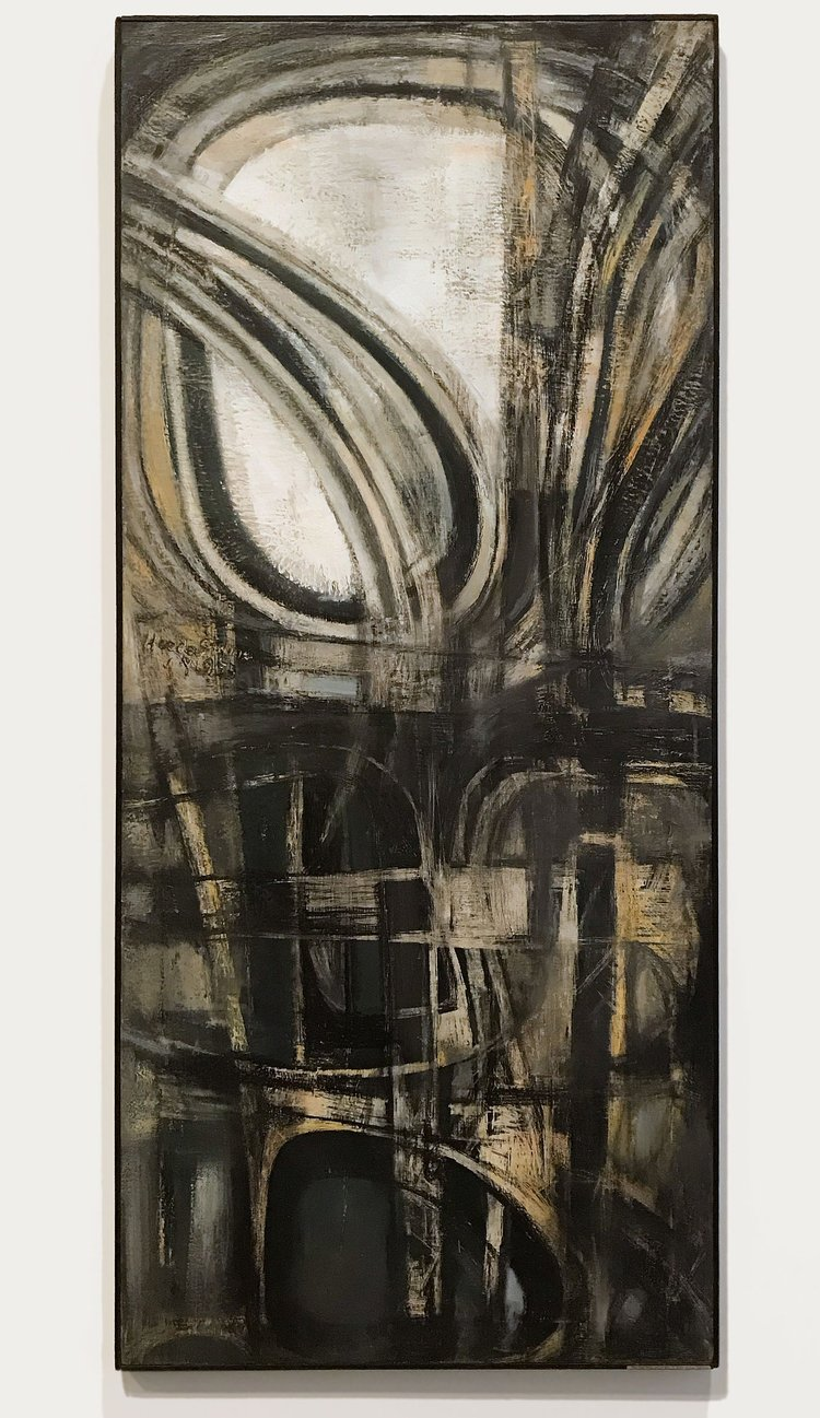 Hedda Sterne,  New York #2 , 1953, oil on canvas, 78 × 34-1/8 x 1 in. (198.1 × 86.7 x 2.5 cm); Collection of the Metropolitan Museum of Art, New York; Purchase, Gift of Samuel Dretzin, by exchange, Bequest of Gioconda King, by exchange, Rogers Fund, by exchange, Funds from various donors, by exchange, and Gift of Chauncey Stillman, by exchange, 2017, 2017.99