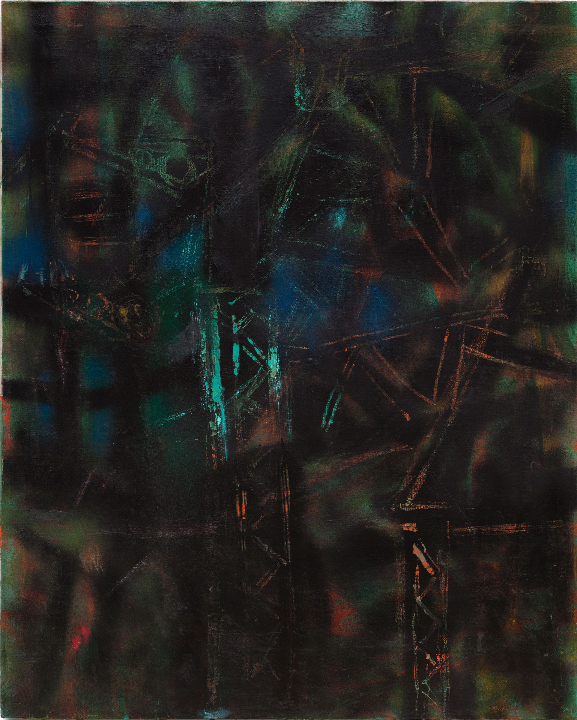 Hedda Sterne,  Untitled , c. 1953, Oil and spray paint on canvas, 42 in. x 34 in.; Collection of the Hedda Sterne Foundation, New York