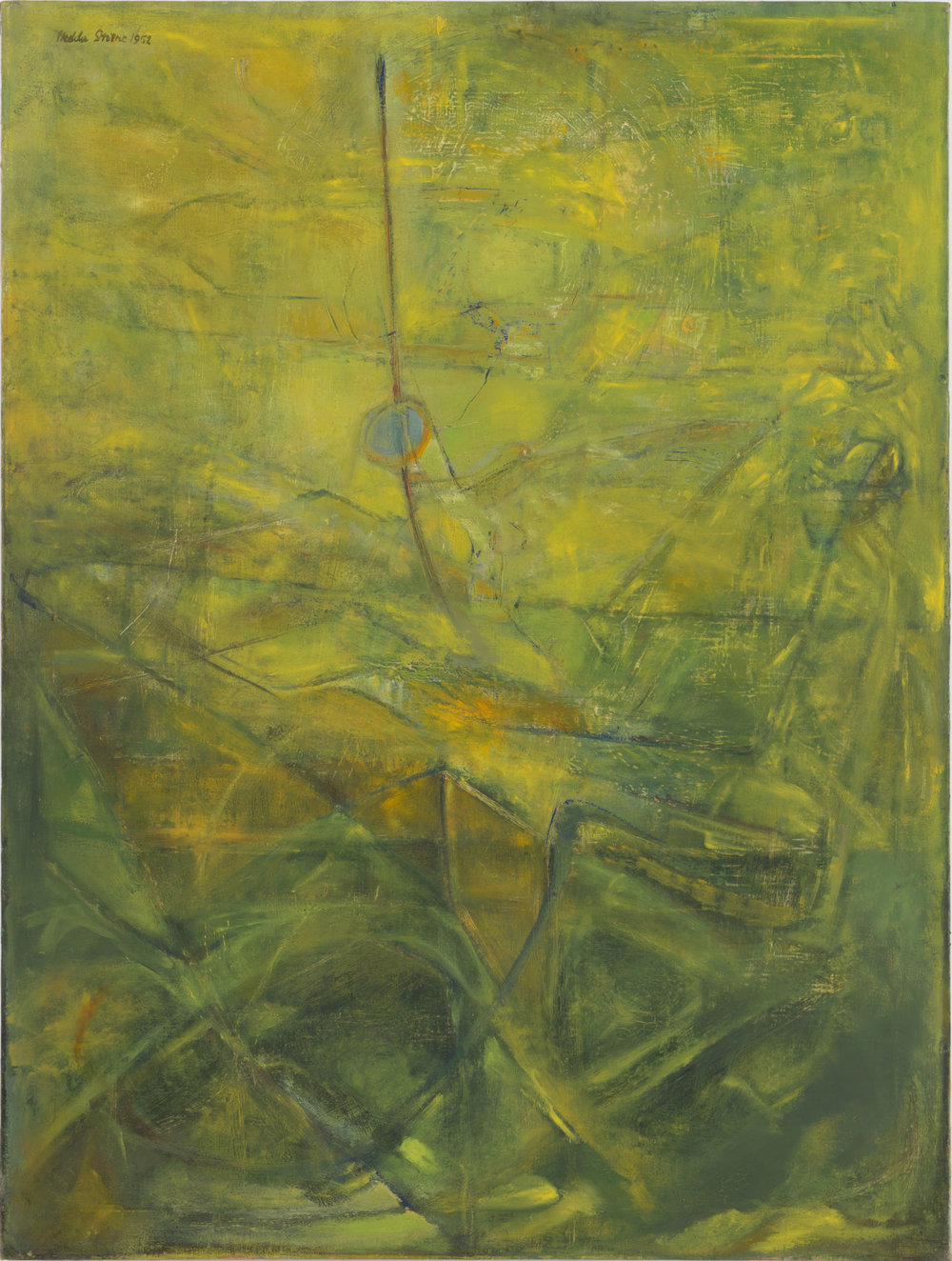 Hedda Sterne,  Green Landscape No. 2 , 1952, Oil on canvas, 40 in. x 30 in.