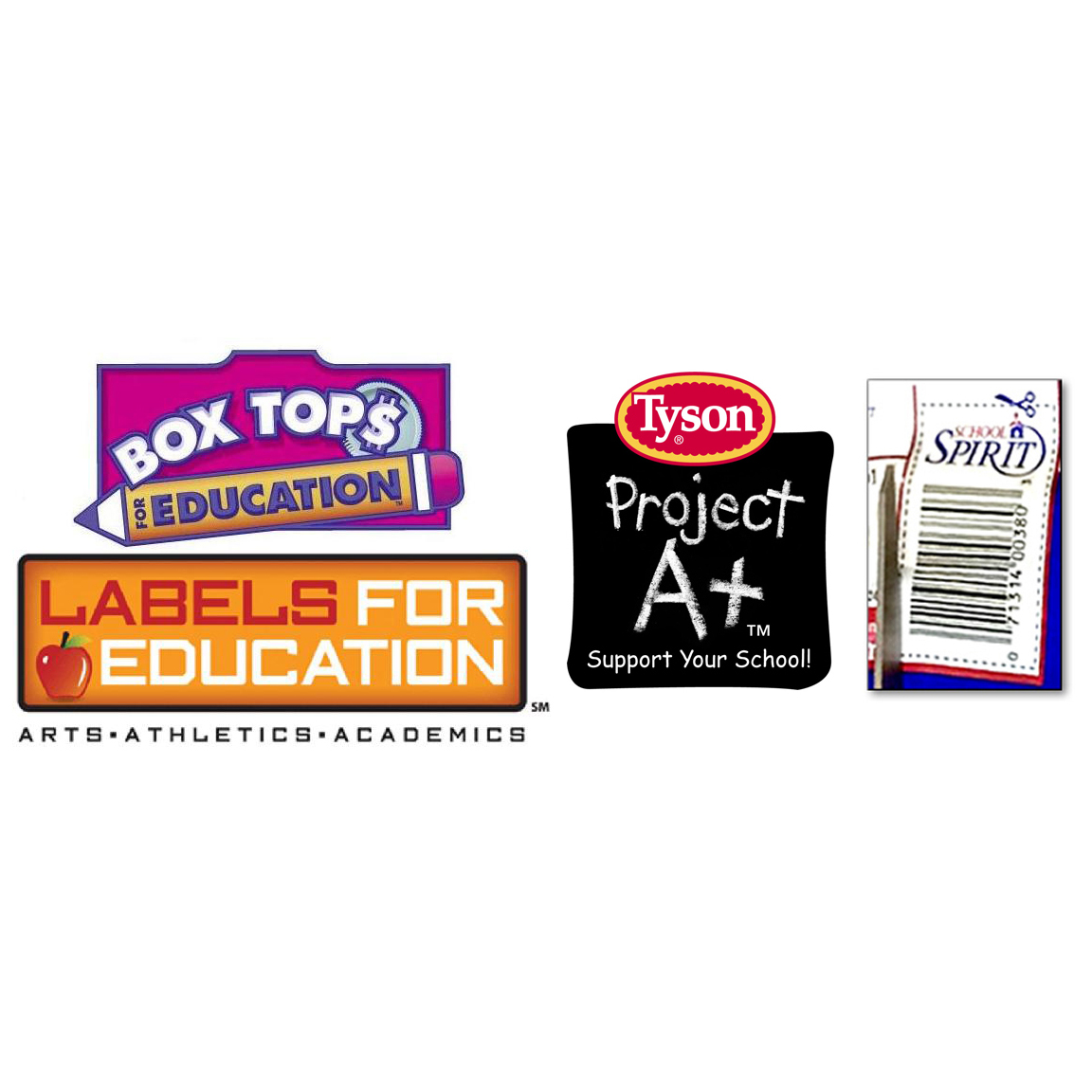 Boxtops for Education, Labels for Education, Aunt Millies School Spirit Labels and Tyson Project A+ Labels   Each label counts for money or for points towards purchasing products for the school and they add up fast! Please make sure you do not cut off the expiration date or expiration date! Turn in your Boxtops in the box in the Main Office!   Find out more here:   http://www.boxtops4education.com    http://www.labelsforeducation.com    http://projectaplus.tyson.com    http://schoolspiritprograms.com
