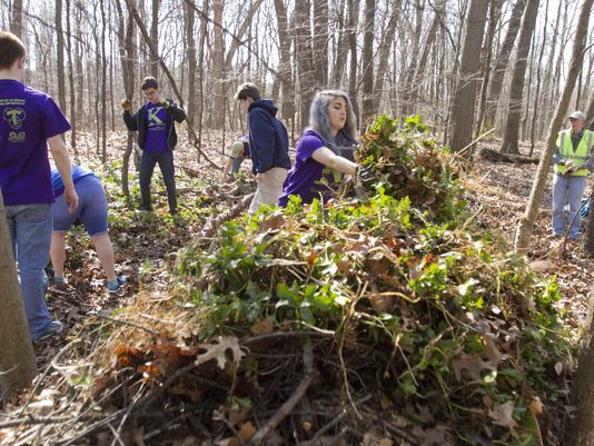 Kensington Woods High School students helped out the community Thursday during the school's first service day.
