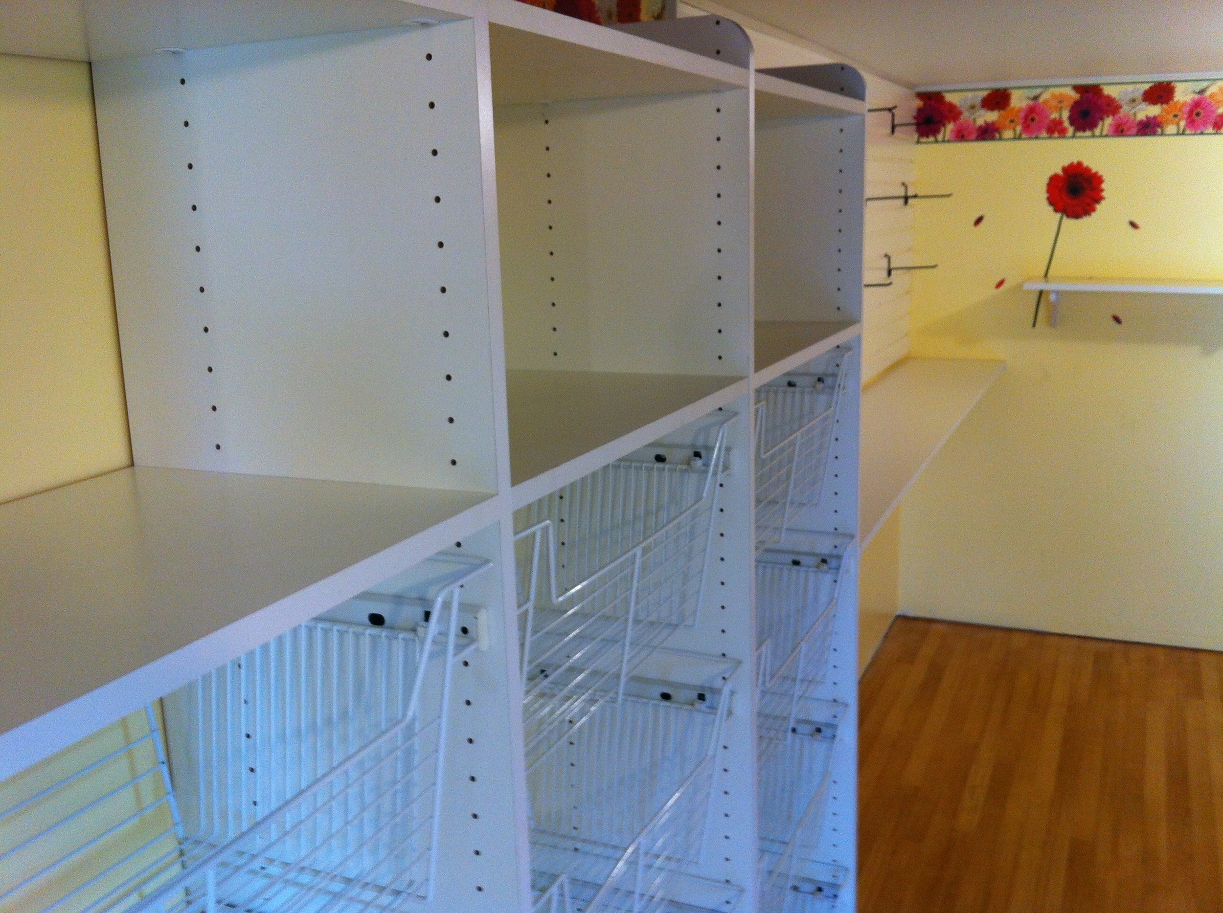 Baskets, shelving and Hooks for Craft room