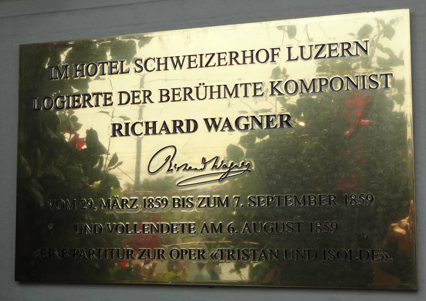 Plaque outside the Schweizerhof Hotel, Lucerne