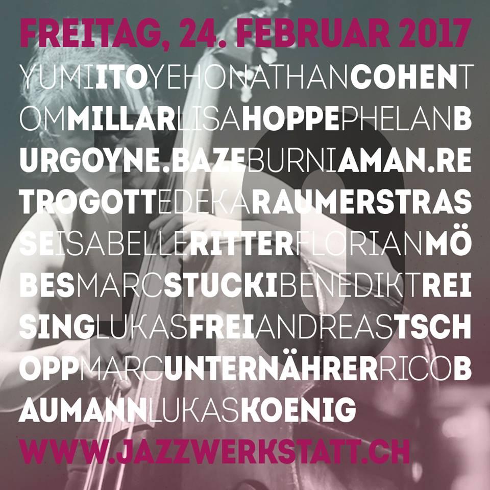 Jazzwerkstatt Flyer (photo of Lisa Hoppe in background)