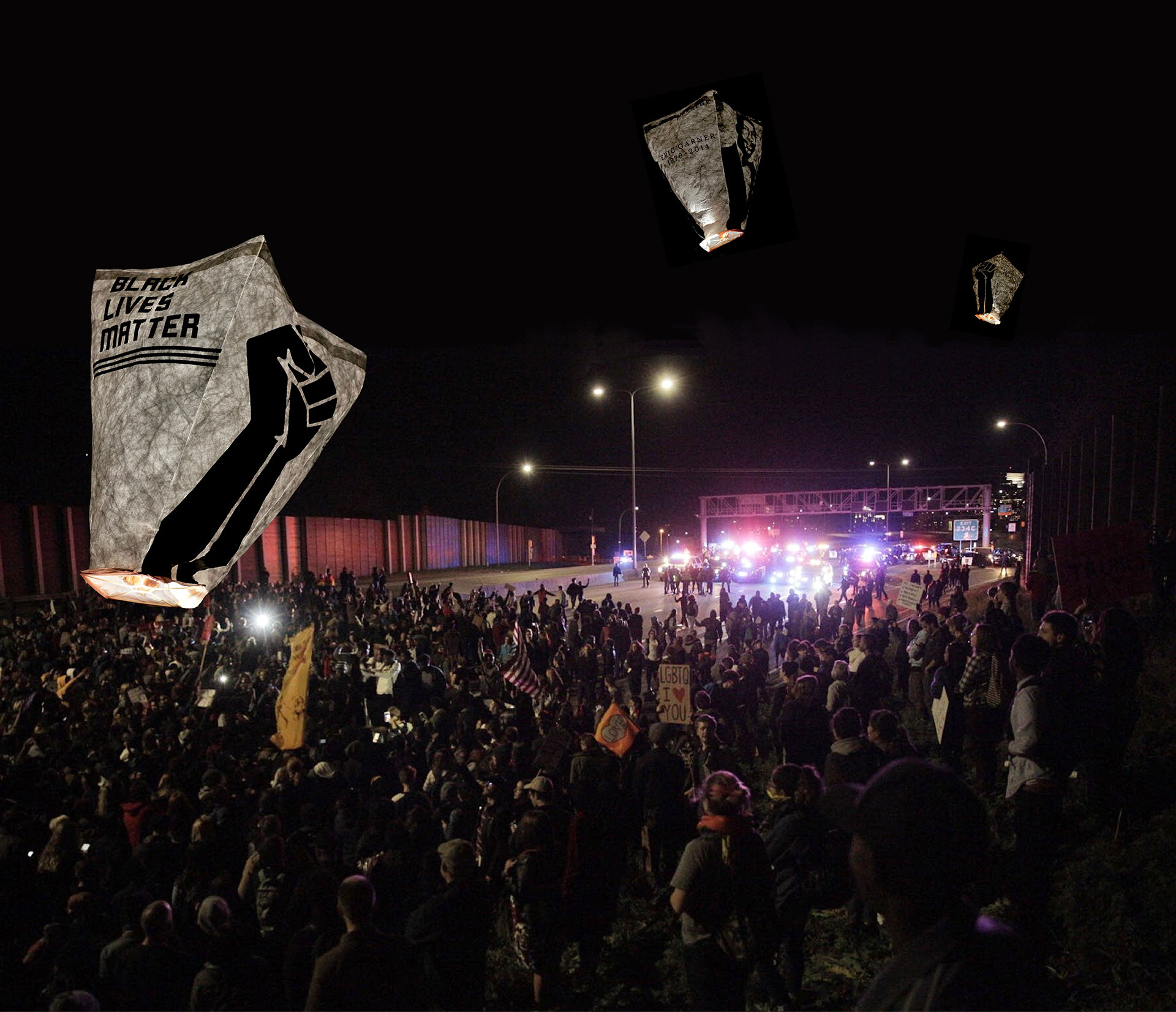 The Black Lives Matter sky lantern portrays an instance where a client employed  MOVE 's design consultancy service. BLM, embroiled in a false characterization as a violent and unruly movement, can use the evocative imagery of a lantern vigil to emphasize the origins of its purpose.