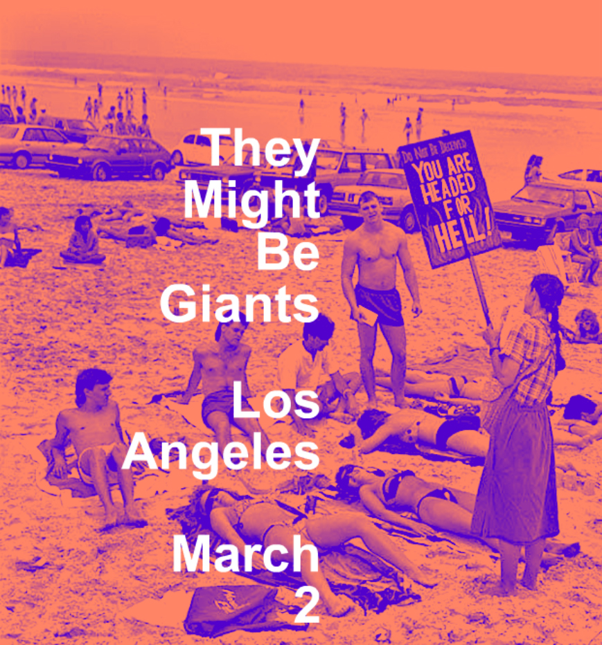 This show is now sold out.   1.20 Atlanta, GA SOLD OUT 1.21 Charlotte, NC http://bit.ly/tmbg0121 1.23 Charleston, SC http://bit.ly/tmbg0123 1.24 Ponte Vedra, FL http://bit.ly/tmbg0124 1.25 Orlando, FL http://bit.ly/tmbg0125 1.26 Ft. Lauderdale, FL SOLD OUT 1.27 St. Petersburg, FL SOLD OUT 1.28 Pensacola, FL http://bit.ly/tmbg0128 1.30 Birmingham, AL SOLD OUT 1.31 Baton Rouge, LA http://bit.ly/tmbg0131 2.1 Austin, TX http://bit.ly/tmbg0201 APOLLO 18 SHOW! 2.2 Houston, TX http://bit.ly/tmbg0202 2.3 Dallas, TX SOLD OUT 2.6 Nashville, TN http://bit.ly/tmbg0206 2.7 Indianapolis, IN http://bit.ly/tmbg0207 2.8 Columbus, OH http://bit.ly/tmbg0208 2.9 St. Louis, MO http://bit.ly/tmbg0209 2.10 Detroit, MI SOLD OUT 2.11 Cleveland, OH SOLD OUT 2.27 Phoenix, AZ http://bit.ly/tmbg0227 3.1 San Diego, CA SOLD OUT 3.2 Los Angeles, CA SOLD OUT  3.3 San Francisco, CA SOLD OUT 3.4 San Francisco, CA http://bit.ly/TMBG0304 selling out! 3.6 Eugene, OR http://bit.ly/tmbg0306 3.7 Seattle, WA SOLD OUT 3.8 Portland, OR http://bit.ly/tmbg0308 selling out! 3.9 Salt Lake City, UT http://bit.ly/tmbg309 3.10 Denver, CO http://bit.ly/tmbg0310 3.11 Boulder, CO http://bit.ly/tmbg0311 3.13 Kansas City, MO http://bit.ly/tmbg0313 3.14 Omaha, NE http://bit.ly/tmbg0314  3.15 Minneapolis, MN http://bit.ly/tmbg0315 3.16 Milwaukee, WI http://bit.ly/tmbg0316 selling out! 3.17 Chicago, IL http://bit.ly/tmbg0317 selling out! 3.18 Louisville, KY http://bit.ly/tmbg0318 4.13 New Haven, CT http://bit.ly/tmbg0413 4.14 Washington, DC http://bit.ly/tmbg0414 4.15 Pittsburgh, PA http://bit.ly/tmbg0415 4.17 Cincinnati, OH http://bit.ly/tmbg0417 4.19 Rochester, NY http://bit.ly/tmbg0419 4.20 Burlington, VT http://bit.ly/tmbg0420 selling out! 4.21 Portland, ME http://bit.ly/tmbg0421 selling out! 4.22 Albany, NY http://bit.ly/tmbg0422 4.26 Northampton, MA http://bit.ly/tmbg0426 4.27 Boston, MA http://bit.ly/tmbg0427 4.28 Philadelphia, PA http://bit.ly/tmbg0428 selling out!  Then we get on a jet plane! 9.20 Leeds, UK http://
