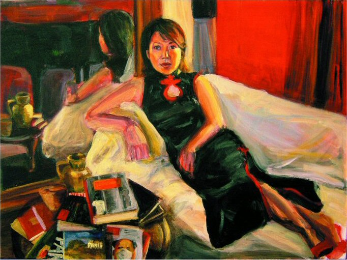 JULIE IN THE MARAIS (2003). Acrylic on canvas 24 x 30 inches. Private collection, Hong Kong.