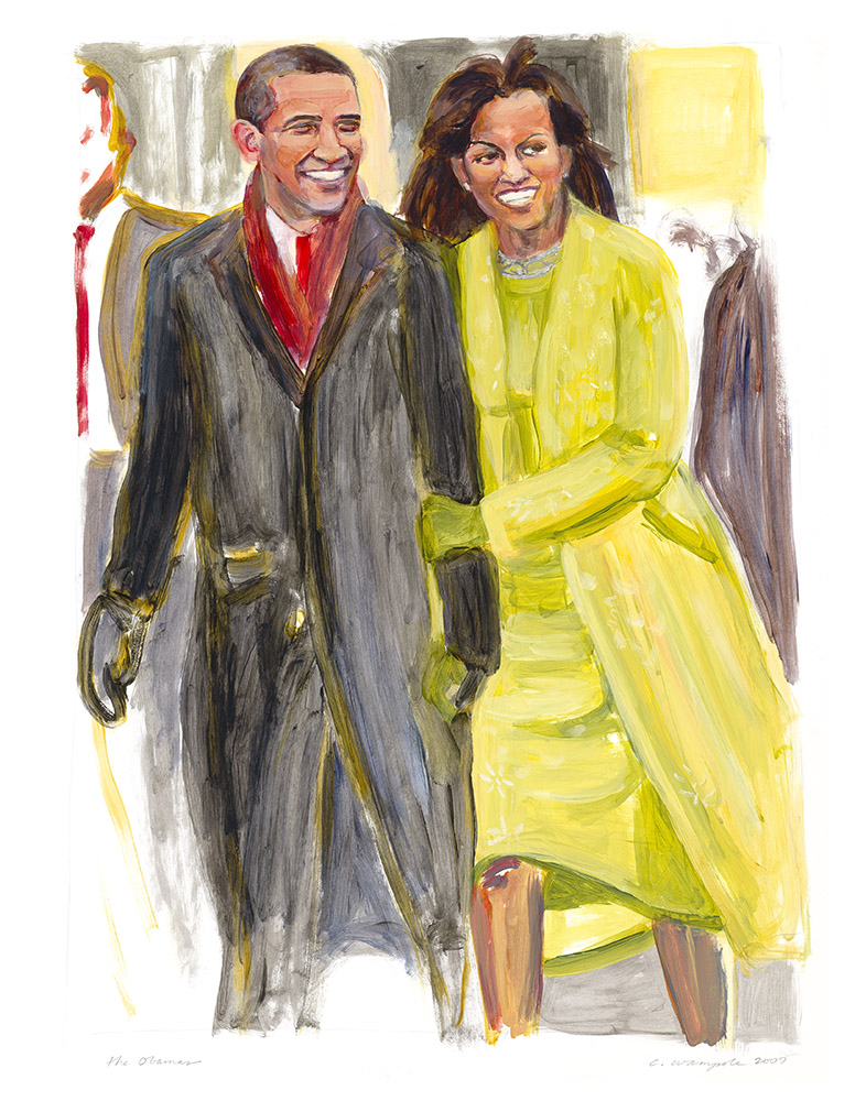 THE OBAMAS (2009). Acrylic on paper, 18 x 24 inches
