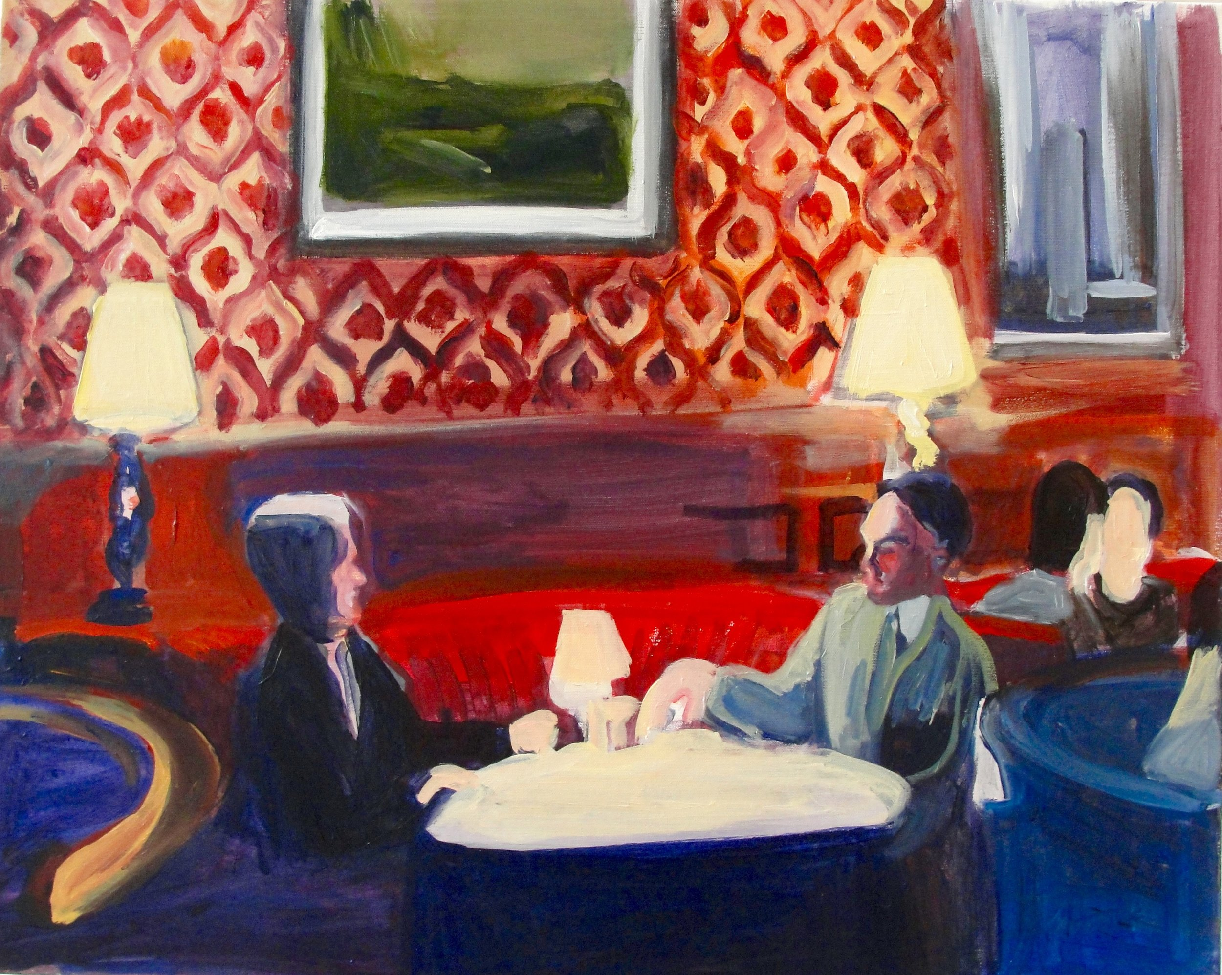 BUSINESS LUNCH (2010). Acrylic on canvas, 24 x 30 inches. Private collection, U.S.