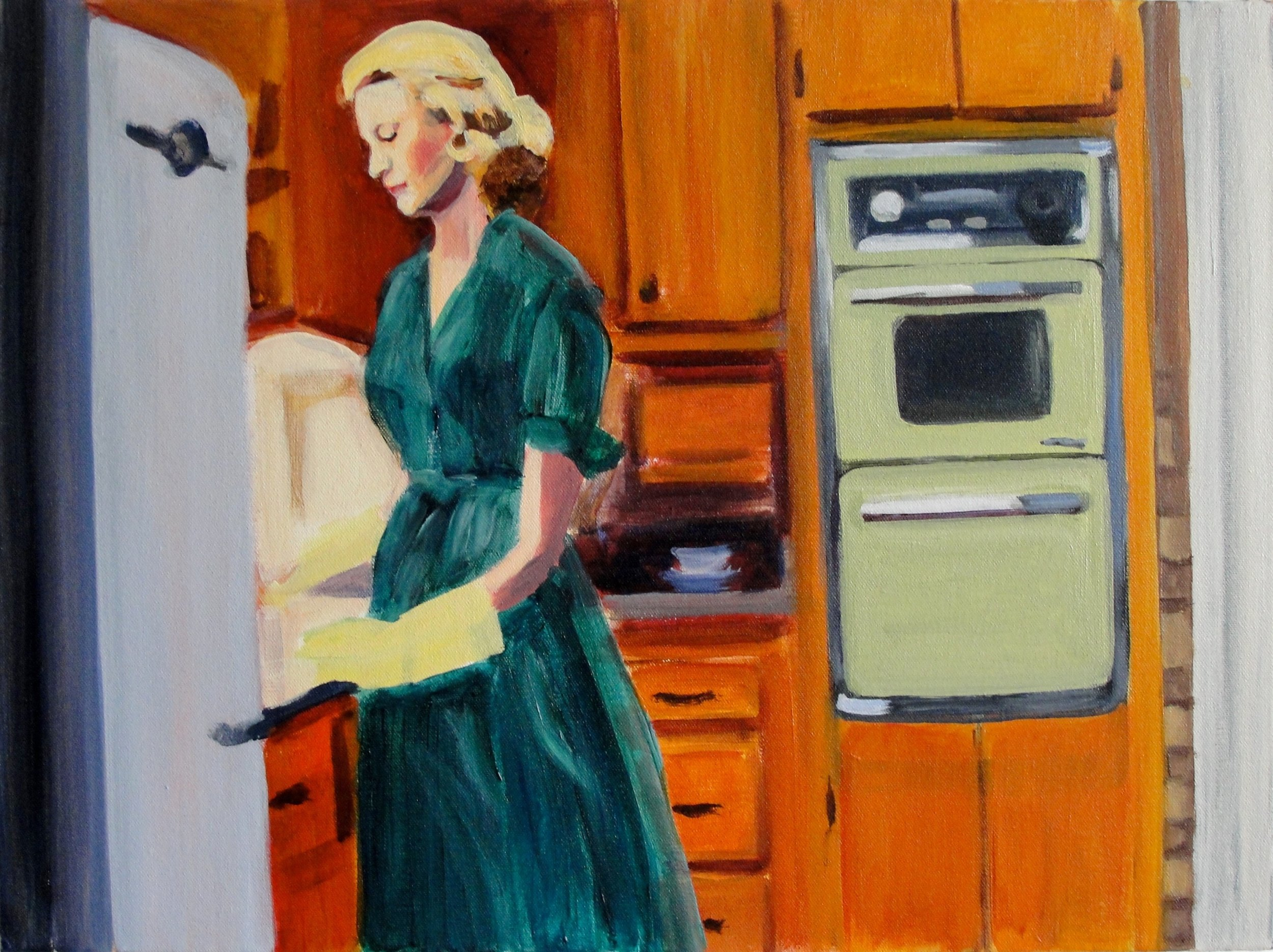 BETTY WASHING DISHES (2010). Acrylic on canvas, 18 x 24 inches. Private collection, U.S.