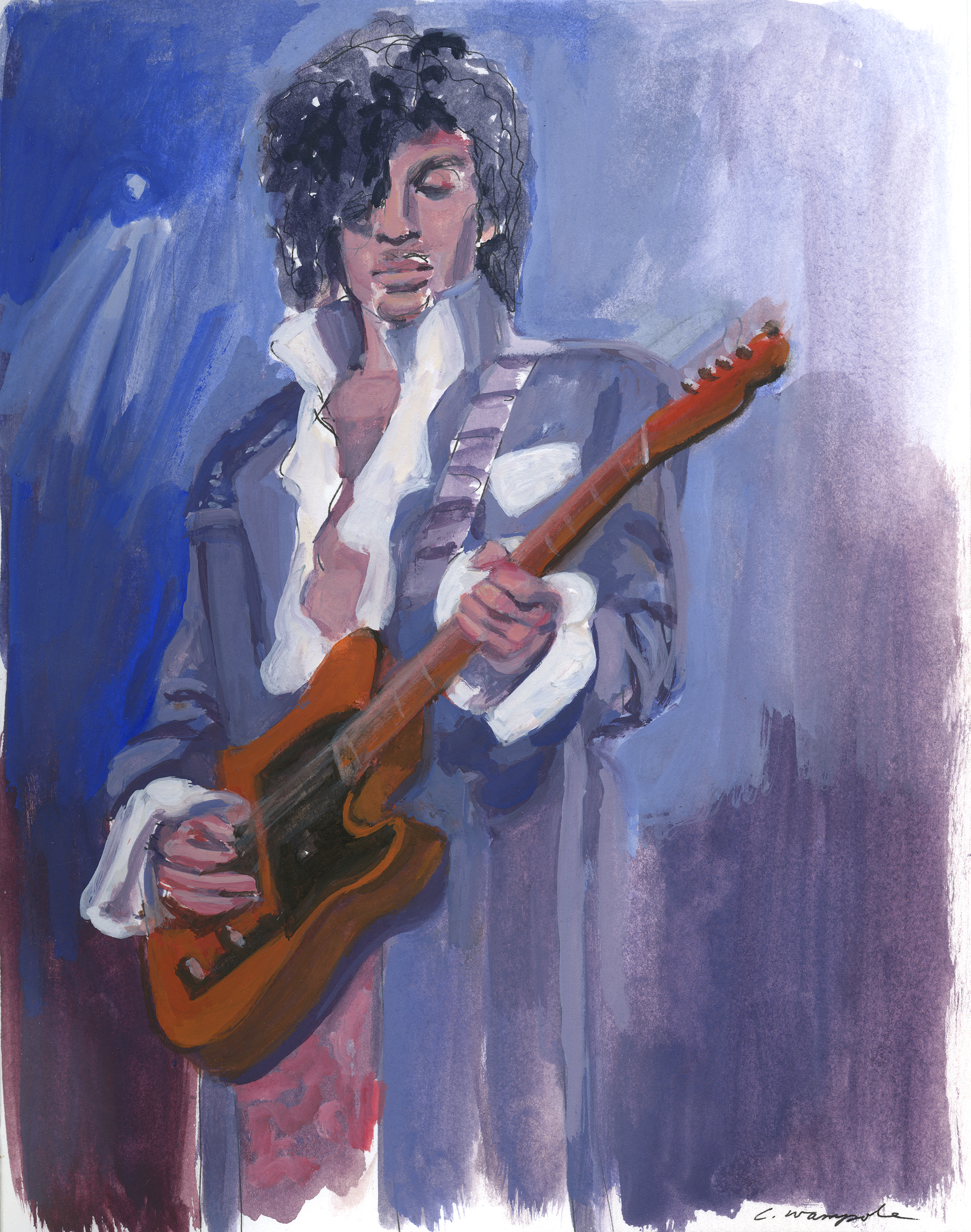 PRINCE (2016). Gouache on paper, 8 x 10 inches