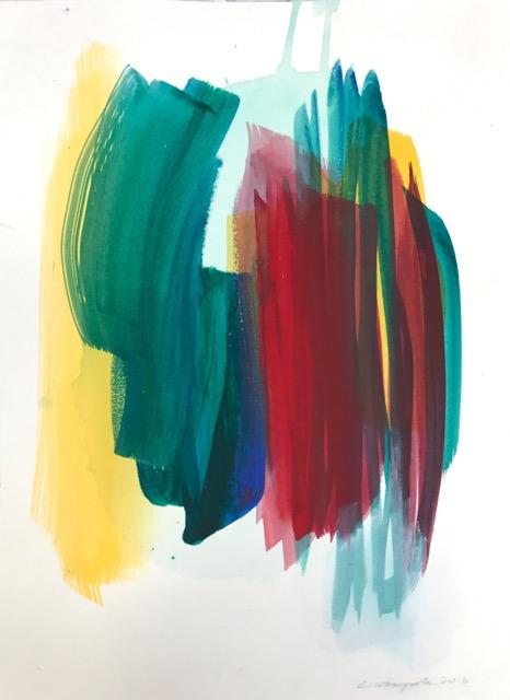 Alla Prima (2016). Acrylic on paper, 9 x 12 inches.