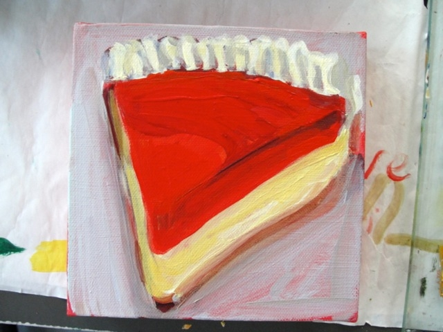 RED JELLO PIE (2012). Acrylic on canvas 6 x 6 inches. Private collection, U.S.